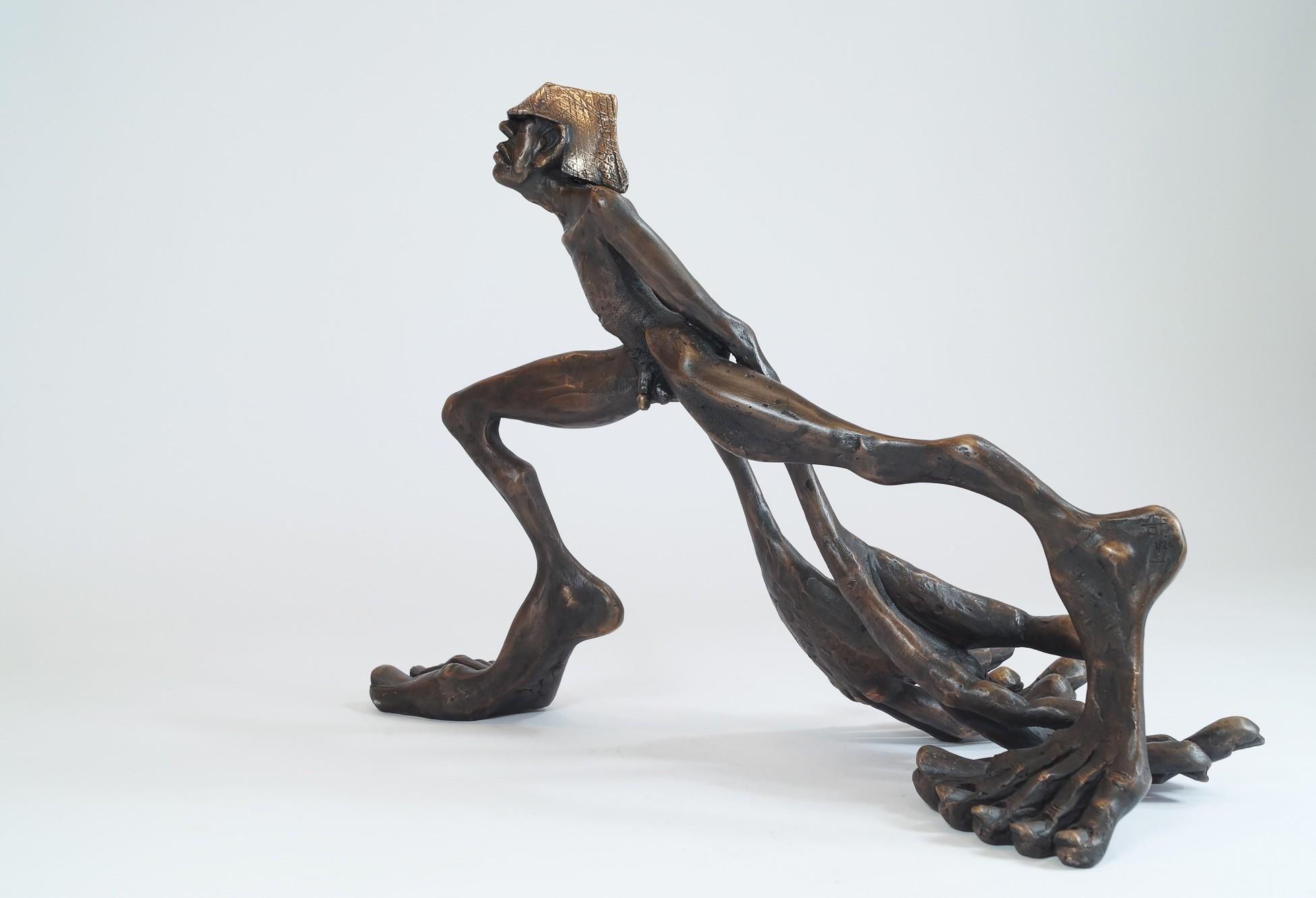 Zeitschläger - seitlich v.l., Bronze Plastik, Skulptur von Tim David Trillsam, Edition