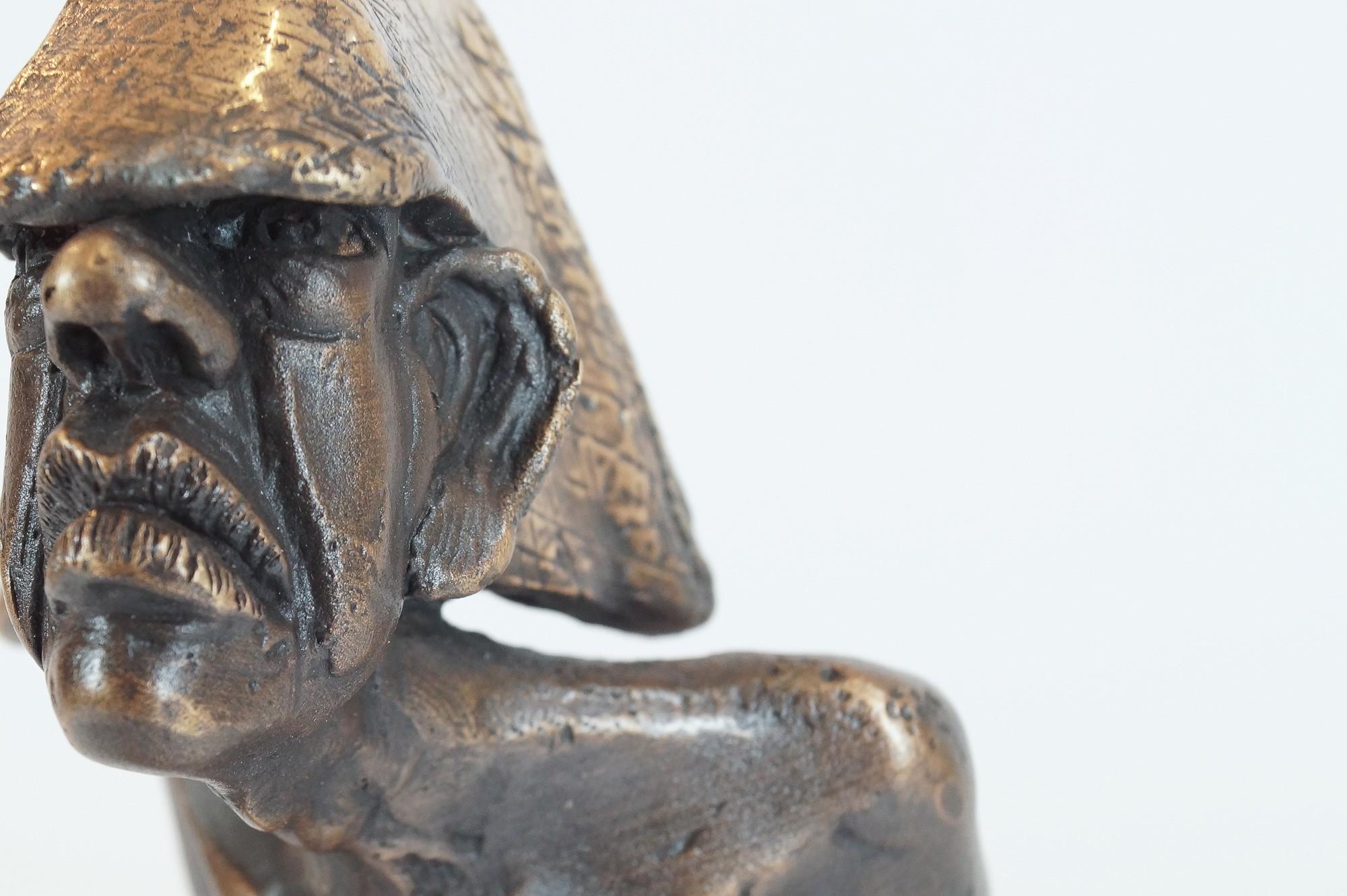 Zeitschläger - Detail, Bronze Plastik, Skulptur von Tim David Trillsam