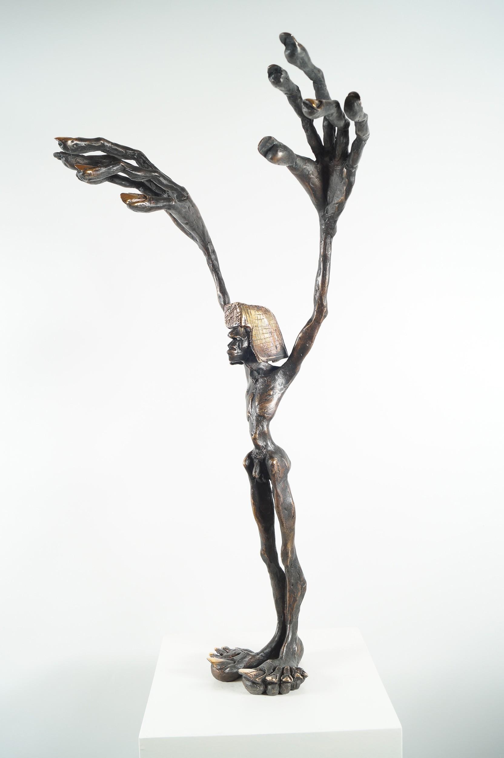 Fadenzieher - Bronze Plastik (seitlich rechts), Skulptur von Tim David Trillsam, Edition