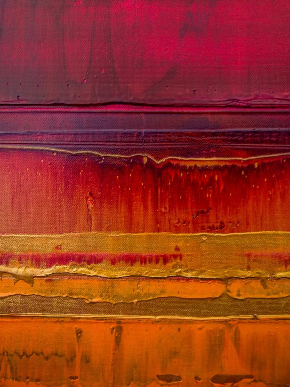 Prisma 15 – Sonnenuntergang Rubin | Malerei von Lali Torma | Acryl auf Leinwand, abstrakt, detail02