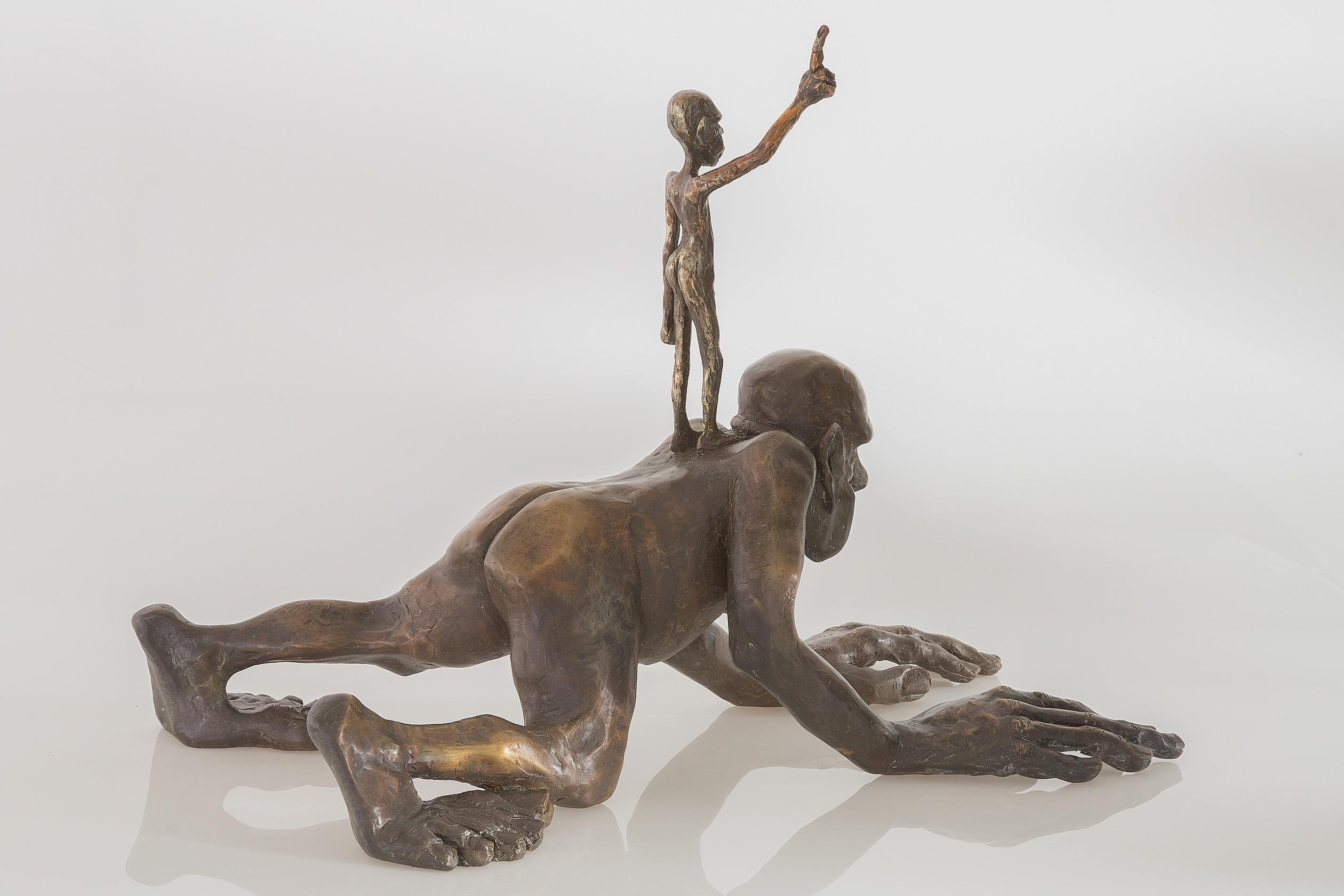 ÜberICH - Bronze Plastik - Skulptur seitlich rechts - Tim David Trillsam Bildhauer Künstler
