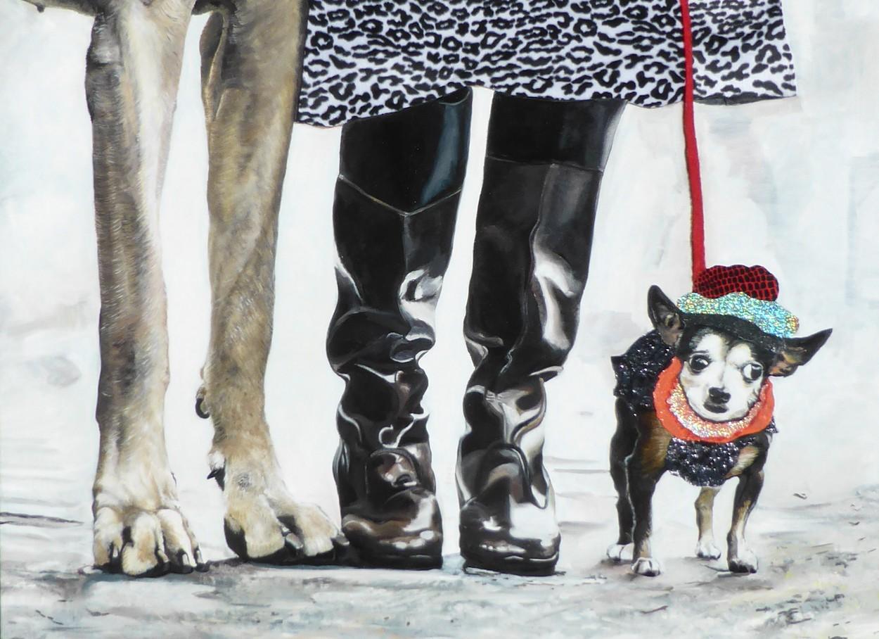 Der Partylöwe | Malerei von Eva Nordal | Öl, Textil auf Baumwolle, realistisch