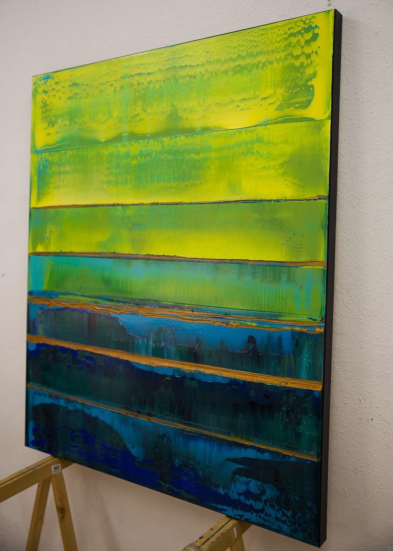 Prisma 19 – Türkise Dämmerung | Malerei von Lali Torma | Acryl auf Leinwand, abstrakt (2)