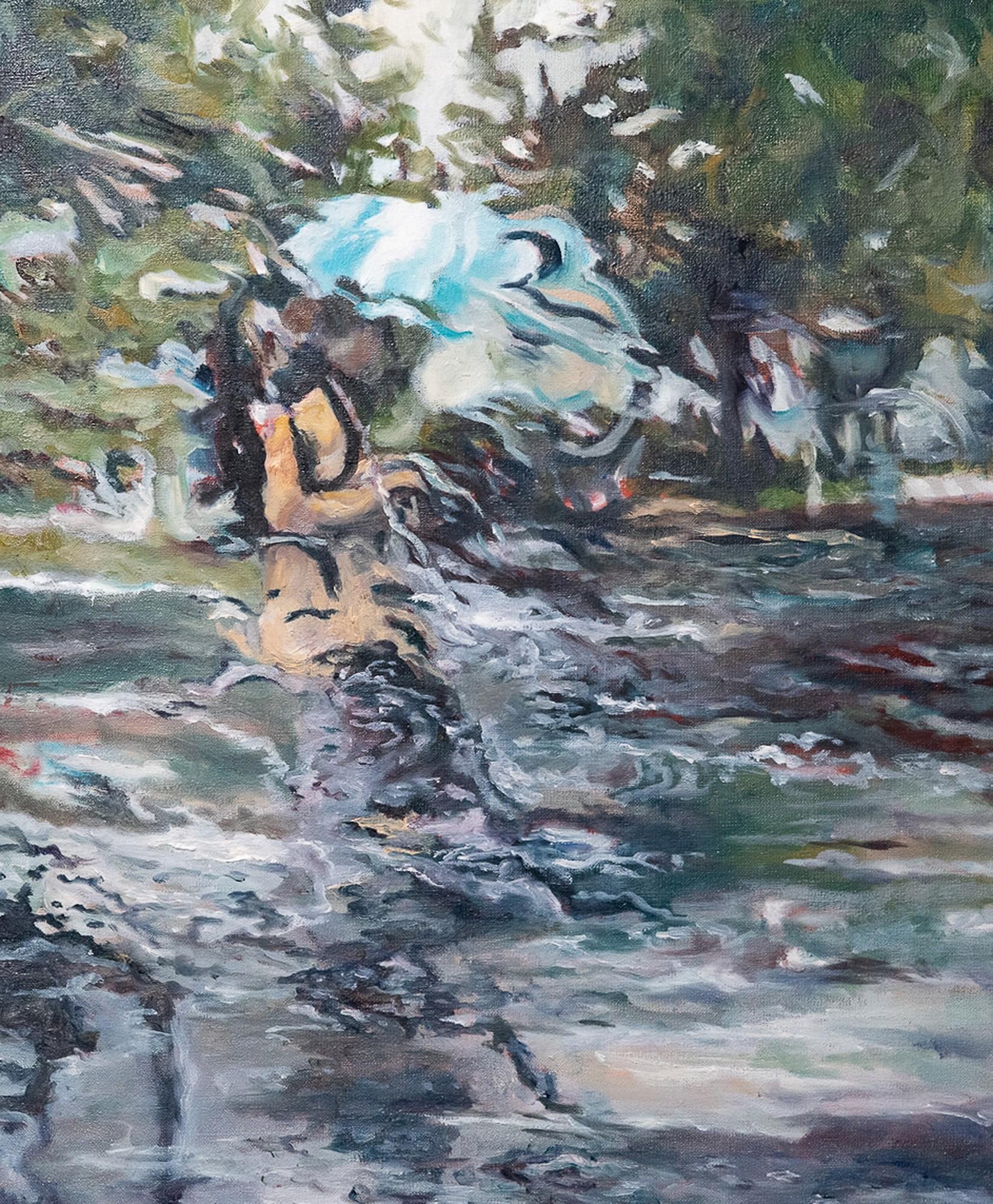 Blue umbrella | Malerei von Künstlerin Simone Westphal, Öl auf Leinwand