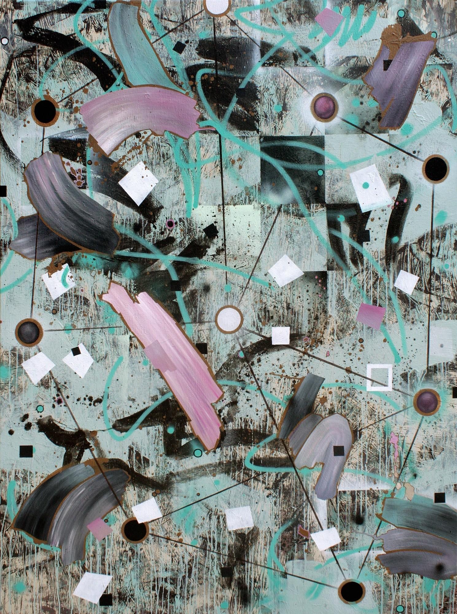 Zwischenräume 12, Malerei von Malwin Faber, Öl, Acryl und Sprühfarbe auf Leinwand