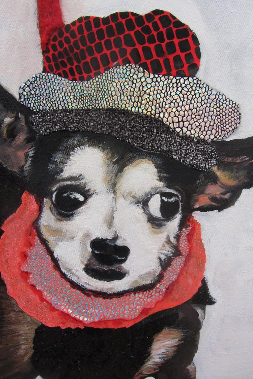 Der Partylöwe | Detail der Malerei von Eva Nordal | Öl, Textil auf Baumwolle, realistisch