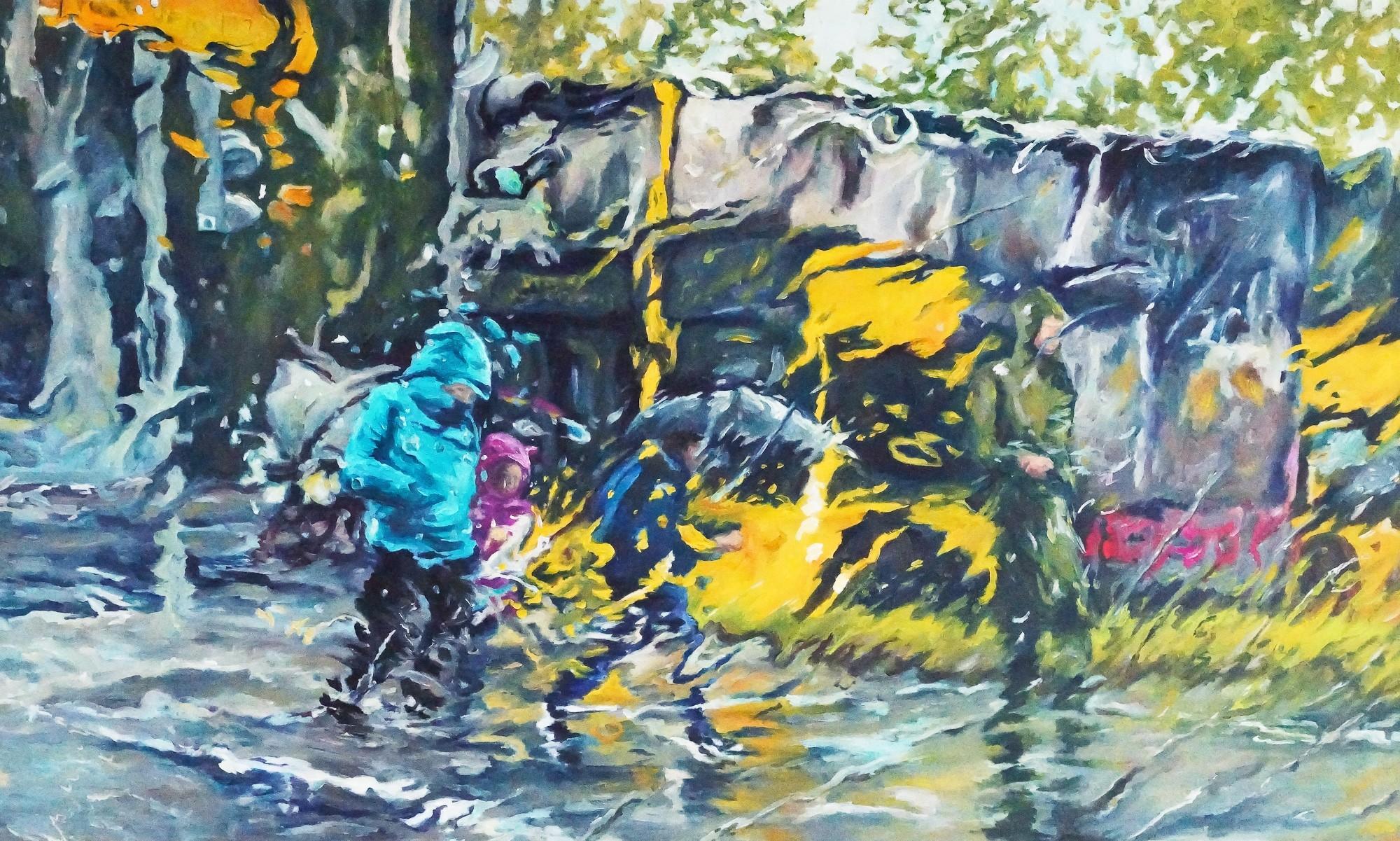 Pouring Rain | Malerei von Künstlerin Simone Westphal, Öl auf Leinw