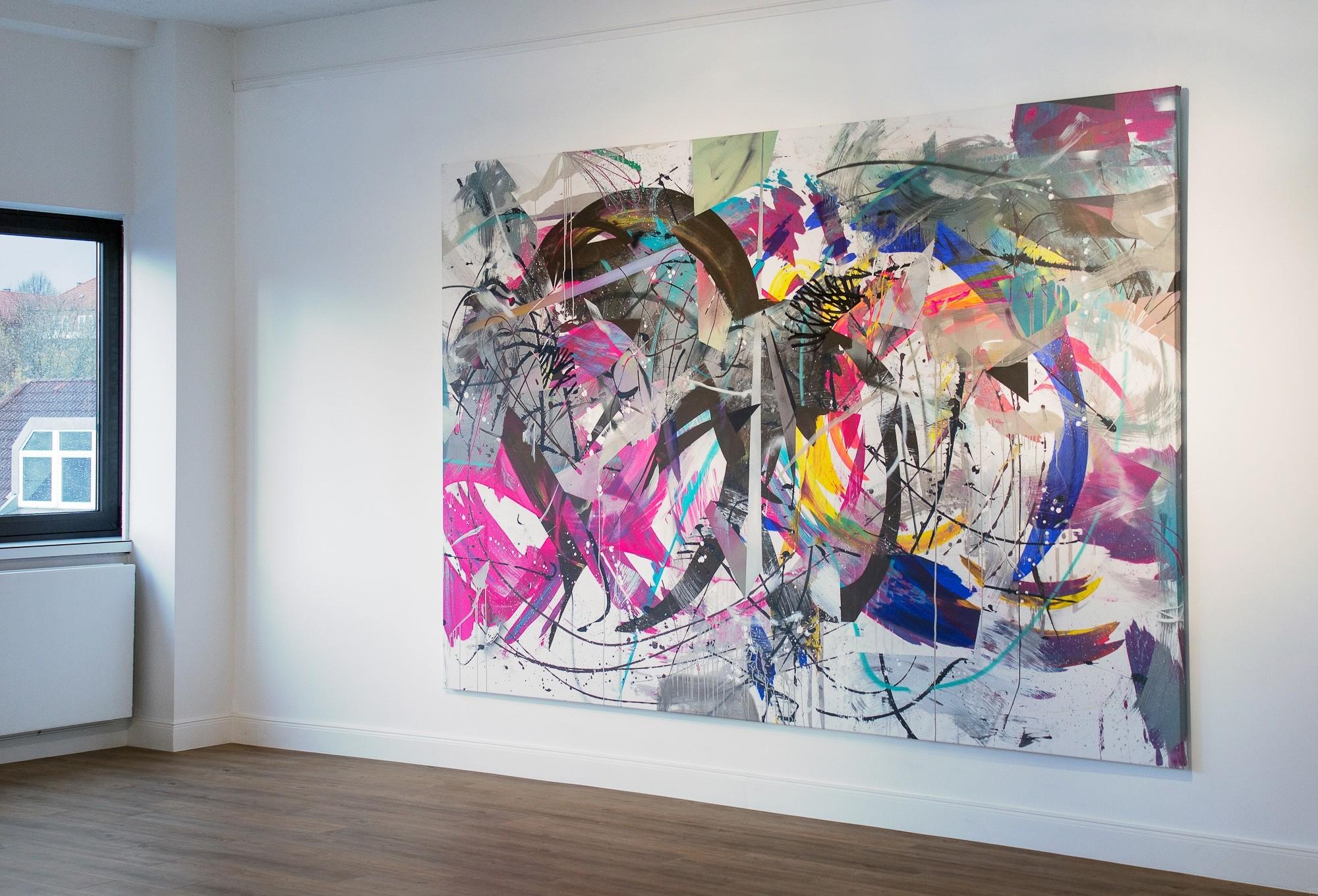O.T. 24, Malerei von Malwin Faber, Öl, Acryl und Sprühfarbe auf Leinwand - 02
