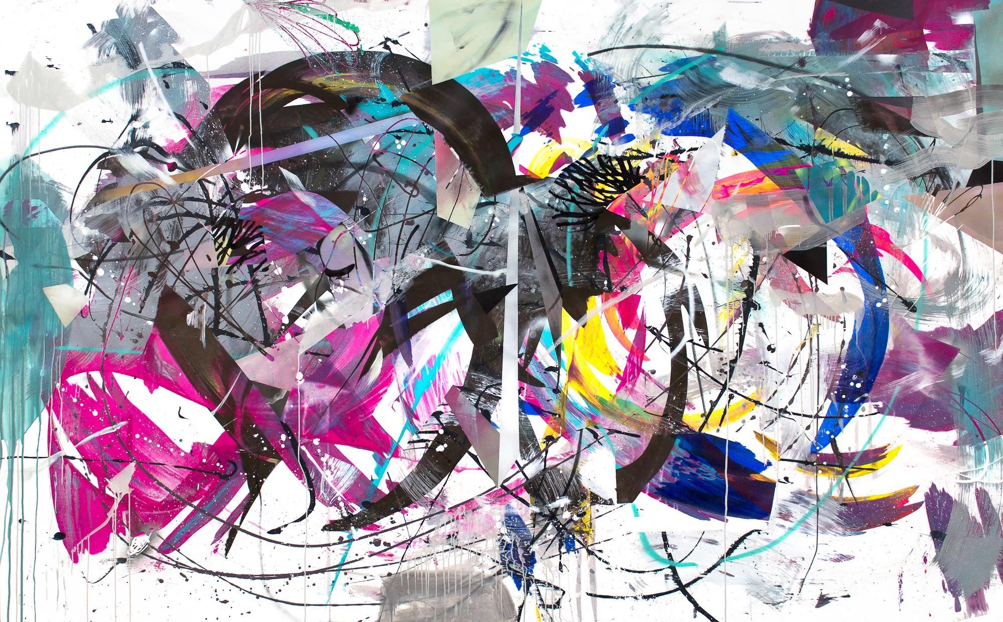 O.T. 24, Malerei von Malwin Faber, Öl, Acryl und Sprühfarbe auf Leinwand