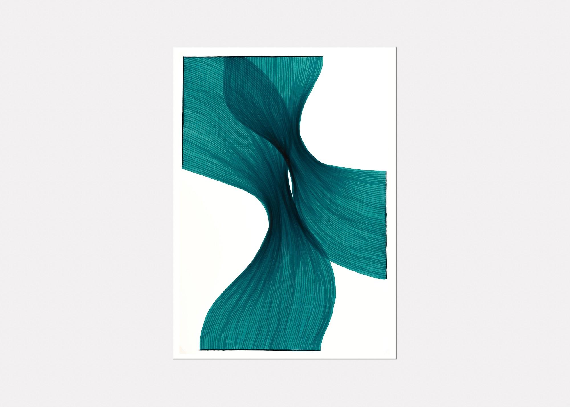 Aqua Sheer Folds | Lali Torma | Zeichnung | Kalligraphietusche auf Papier - 2