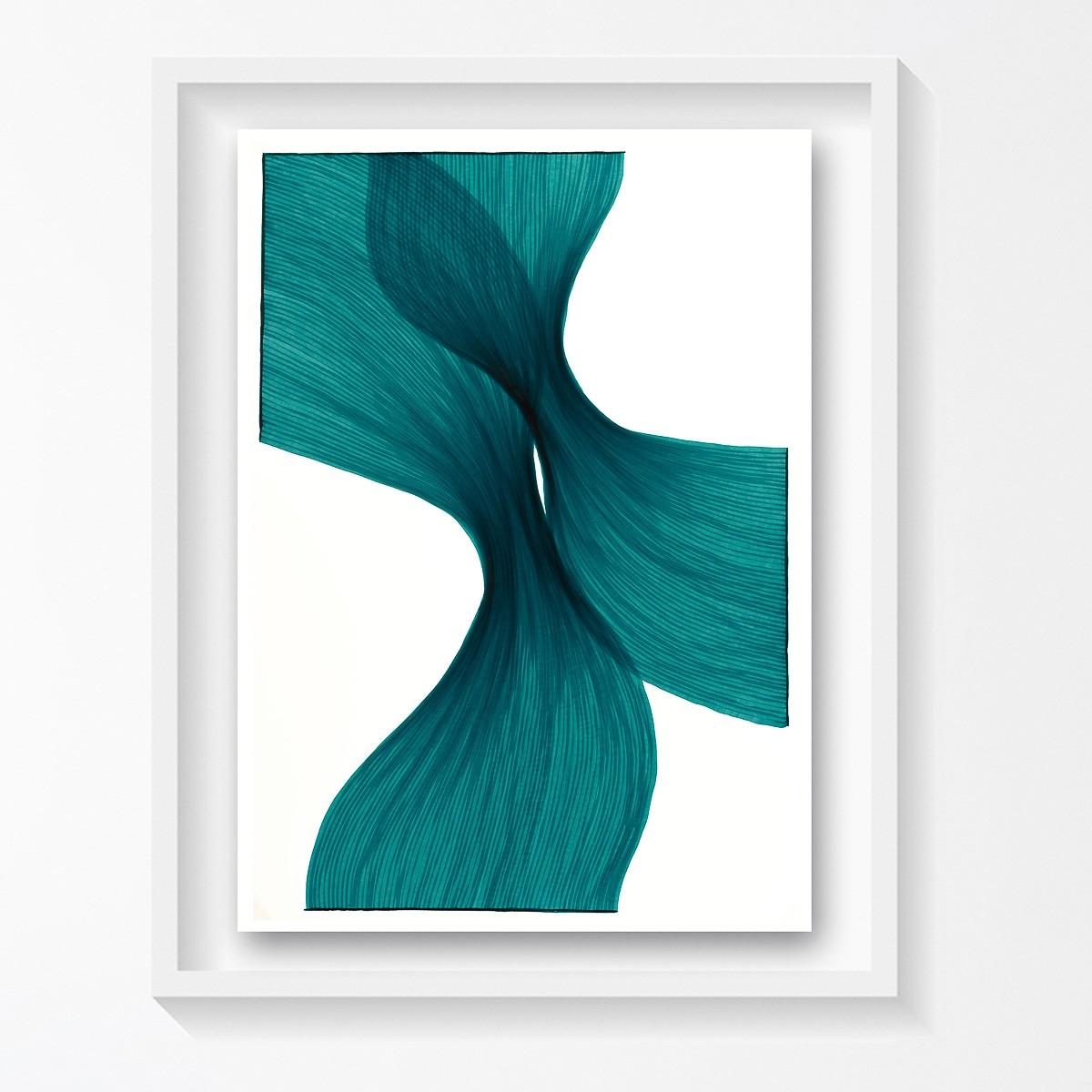 Aqua Sheer Folds | Lali Torma | Zeichnung | Kalligraphietusche auf Papier, gerahmt