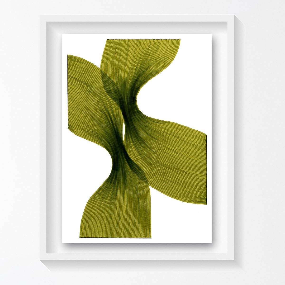 Banana Leaf Sheer Folds   Lali Torma   Zeichnung   Kalligraphietusche auf Papier, gerahmt