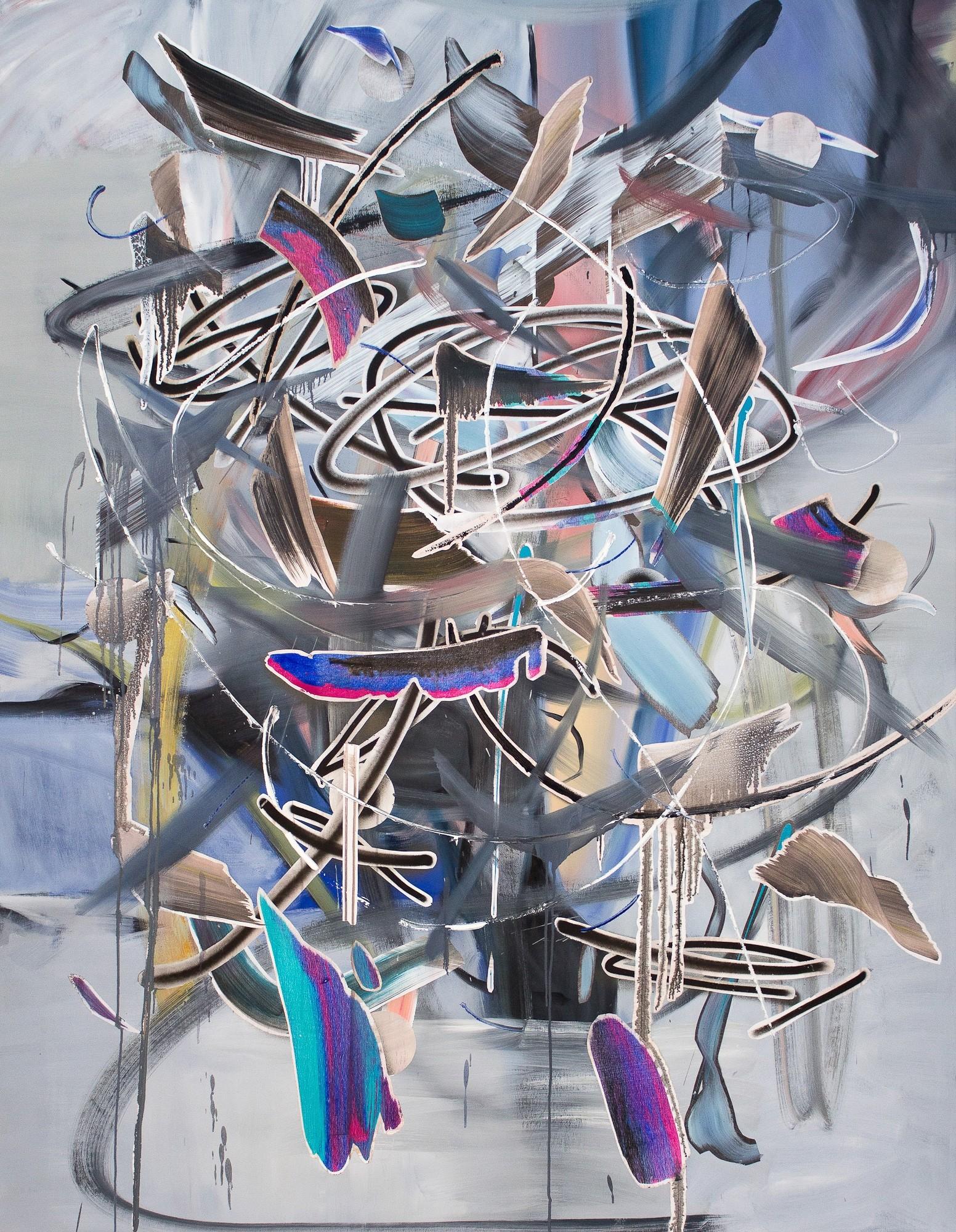 O.T. 28, Malerei von Malwin Faber, Öl, Acryl und Sprühfarbe auf Leinwand