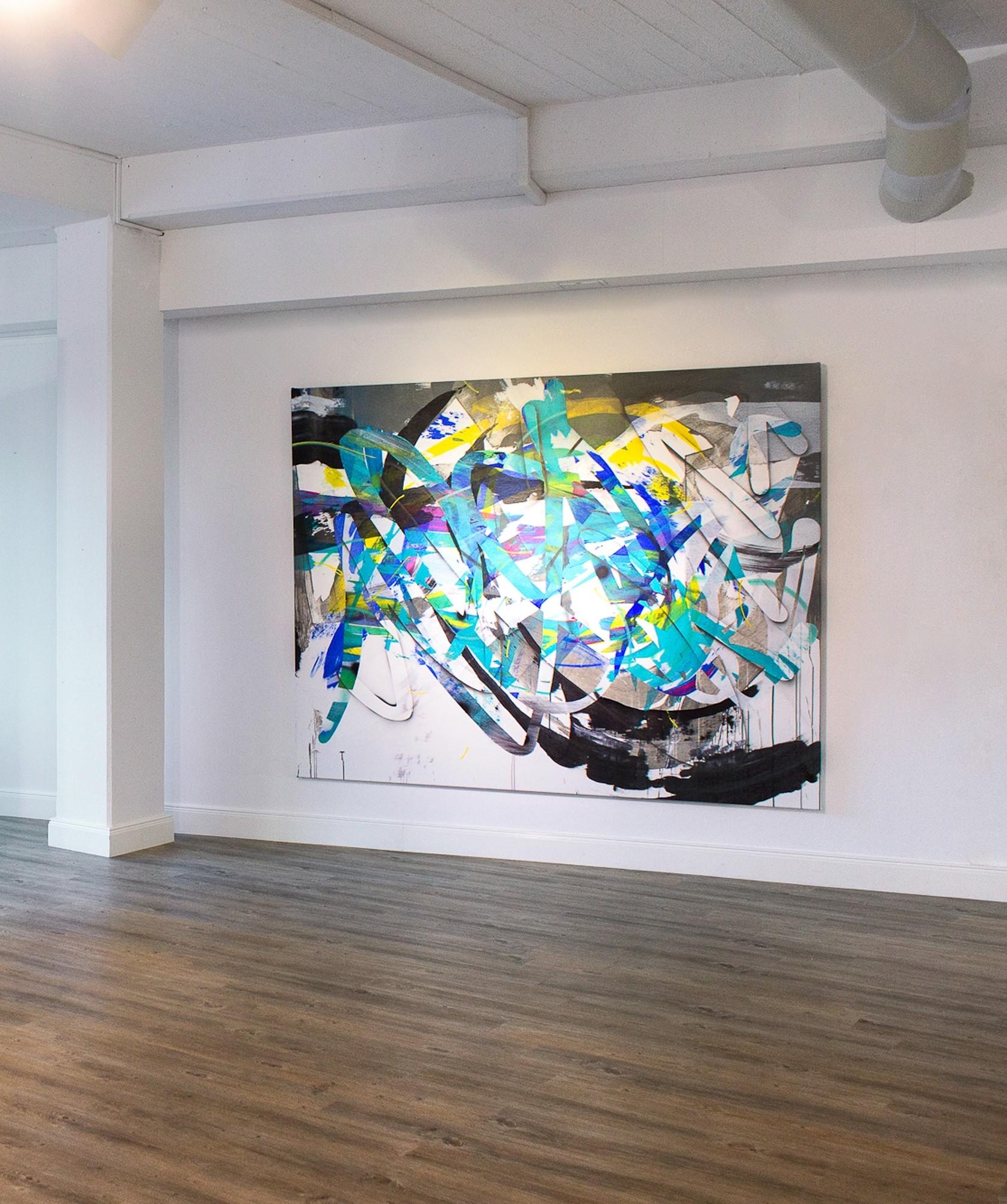 O.T. 29, Malerei von Malwin Faber, Öl, Acryl und Sprühfarbe auf Leinwand 02