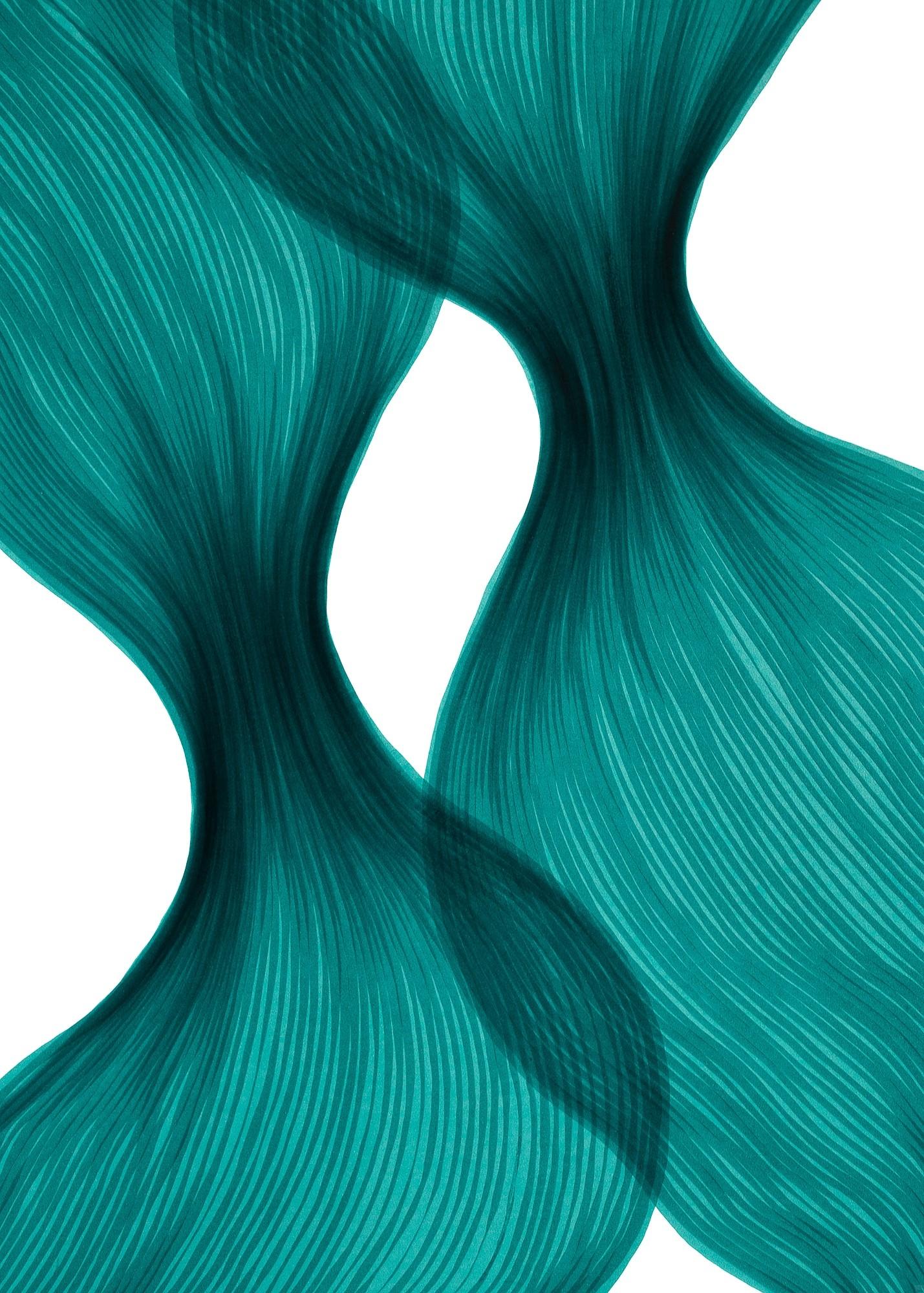Aqua Dawn Sheer Folds | Lali Torma | Zeichnung | Kalligraphietusche auf Papier, Detail