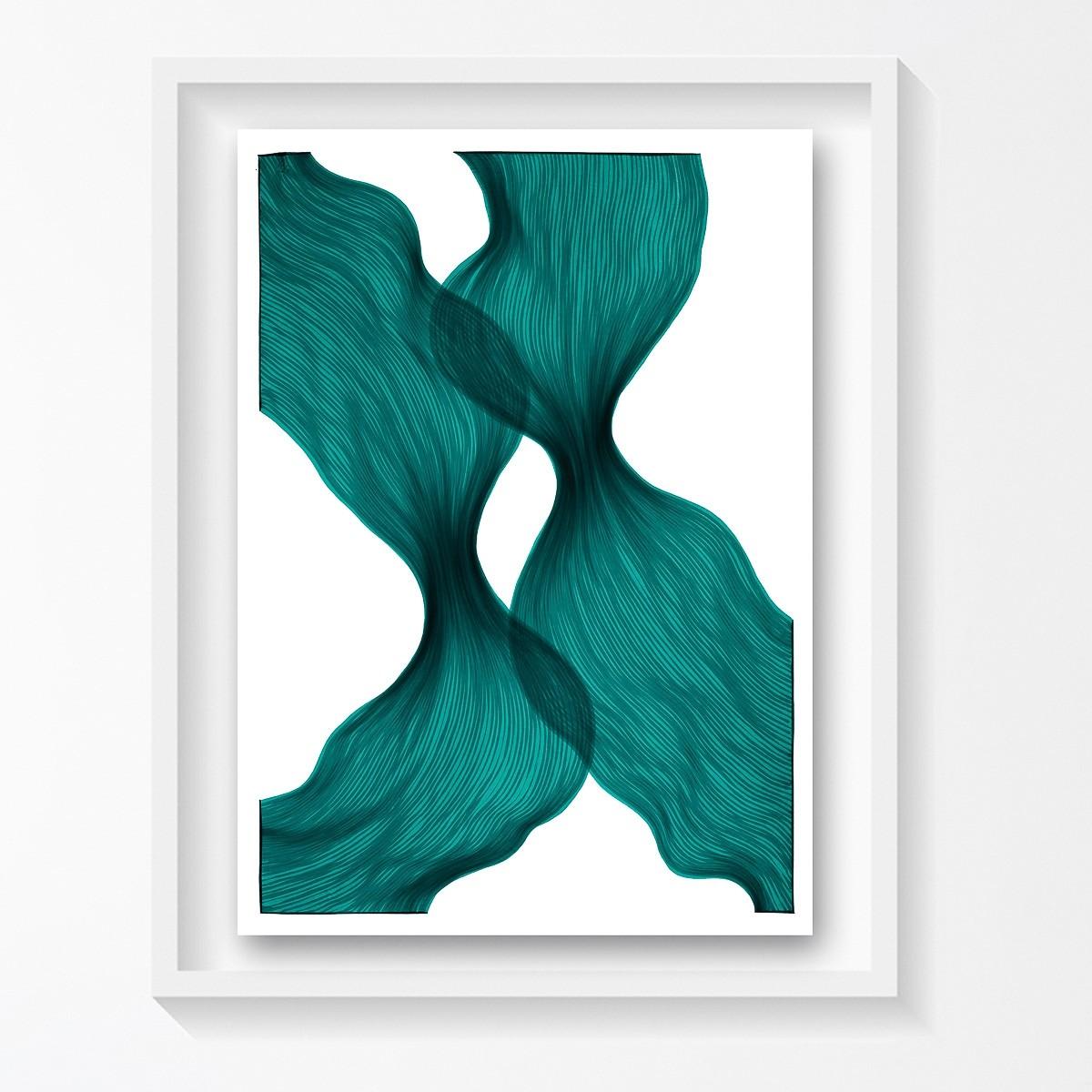 Aqua Dawn Sheer Folds | Lali Torma | Zeichnung | Kalligraphietusche auf Papier, gerahmt