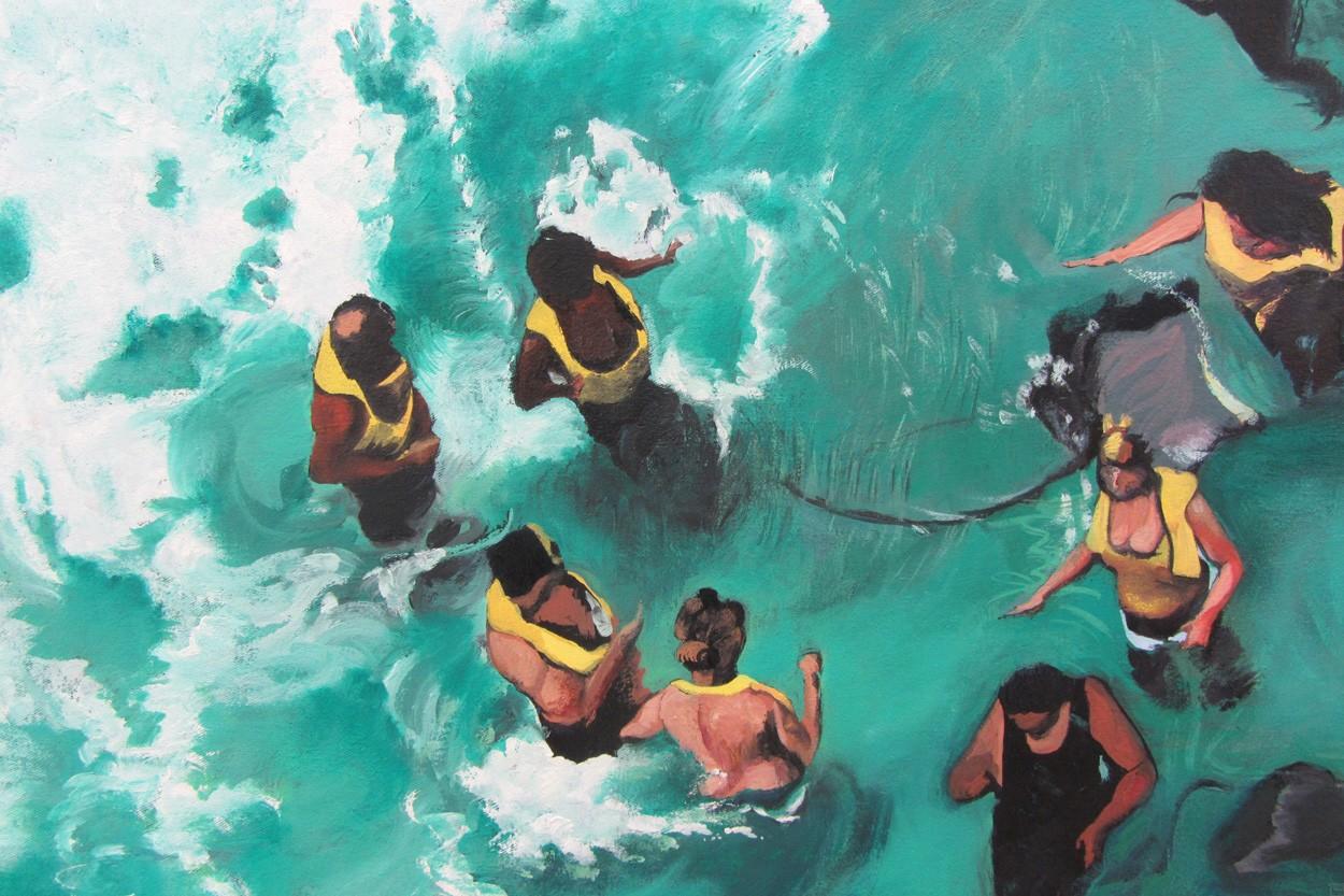 Cayman to go | Detail der Malerei von Eva Nordal | Öl auf Baumwolle, realistisch