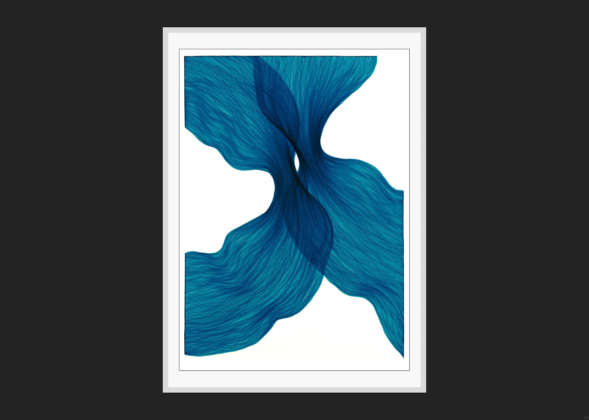 Sea Blue Sheer Folds | Lali Torma | Zeichnung | Kalligraphietusche auf Papier - 3