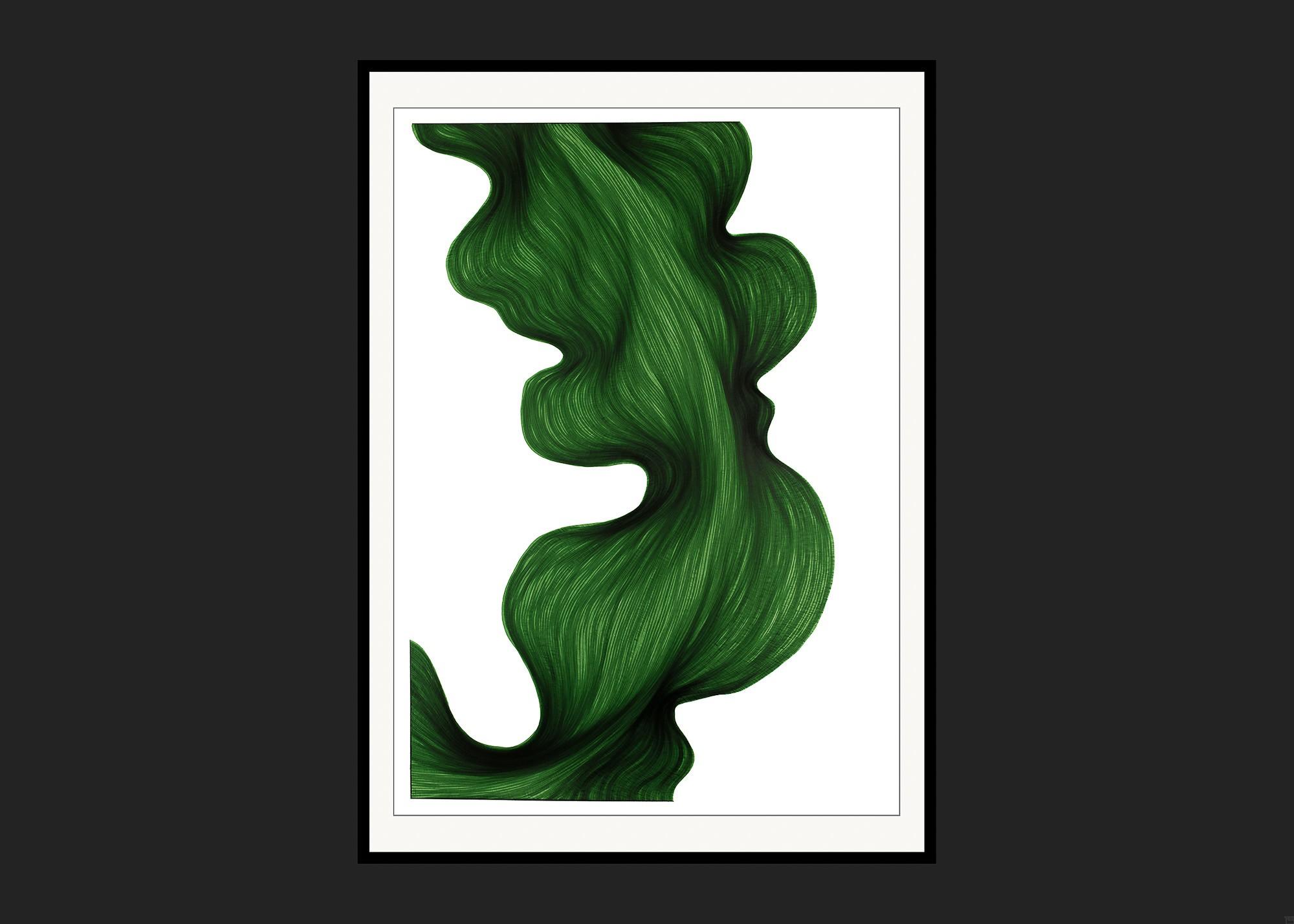 Deep Green Bend   Lali Torma   Zeichnung   Kalligraphie Tinte auf Papier - gerahmt