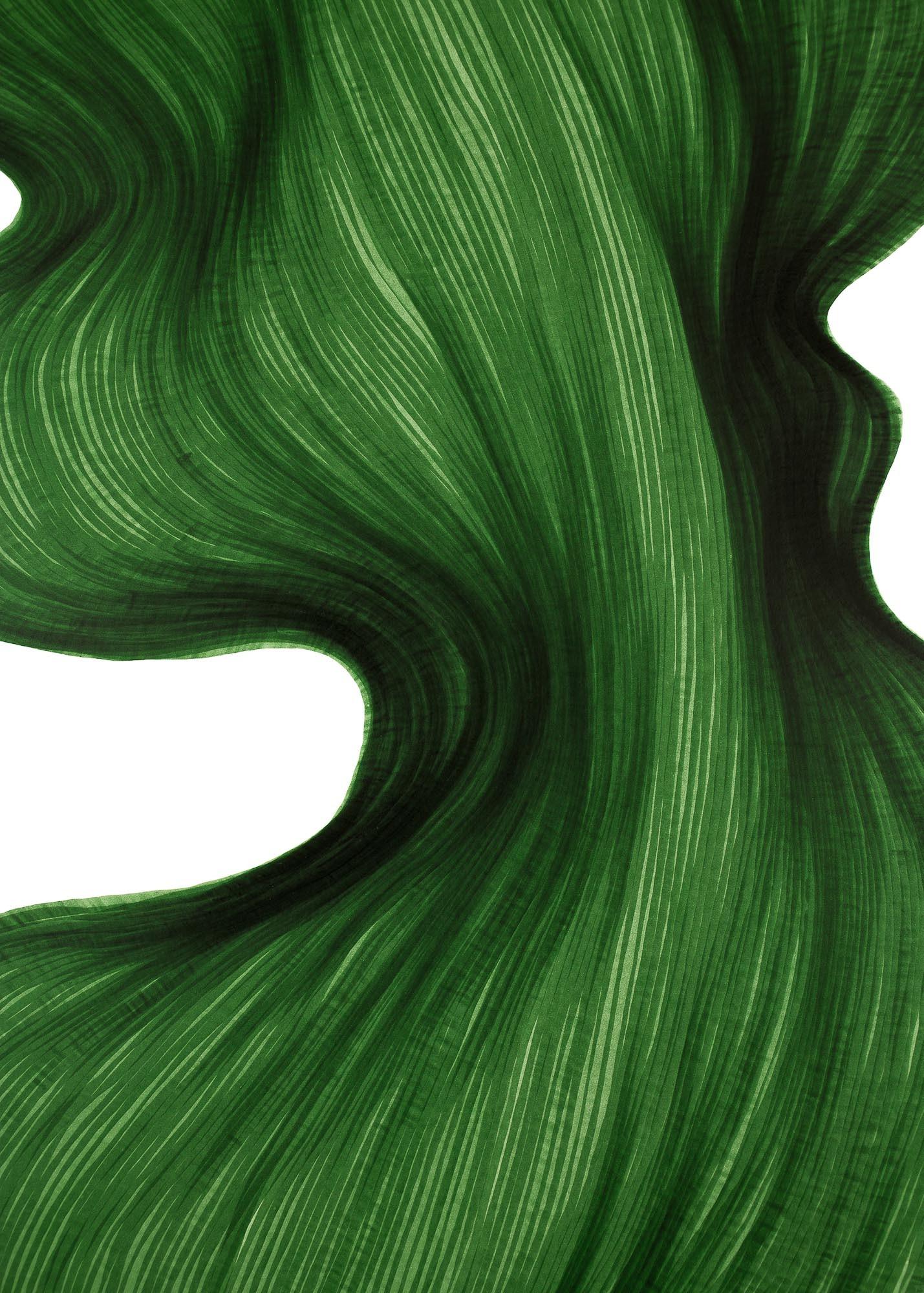 Deep Green Bend   Lali Torma   Zeichnung   Kalligraphie Tinte auf Papier - Detail 1