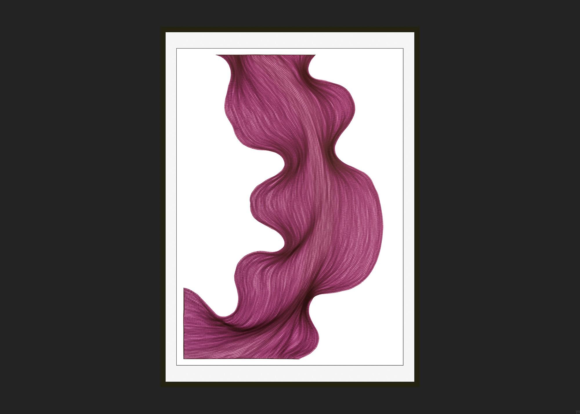Bubbly Violet | Lali Torma | Zeichnung | Kalligraphie Tinte auf Papier - gerahmt