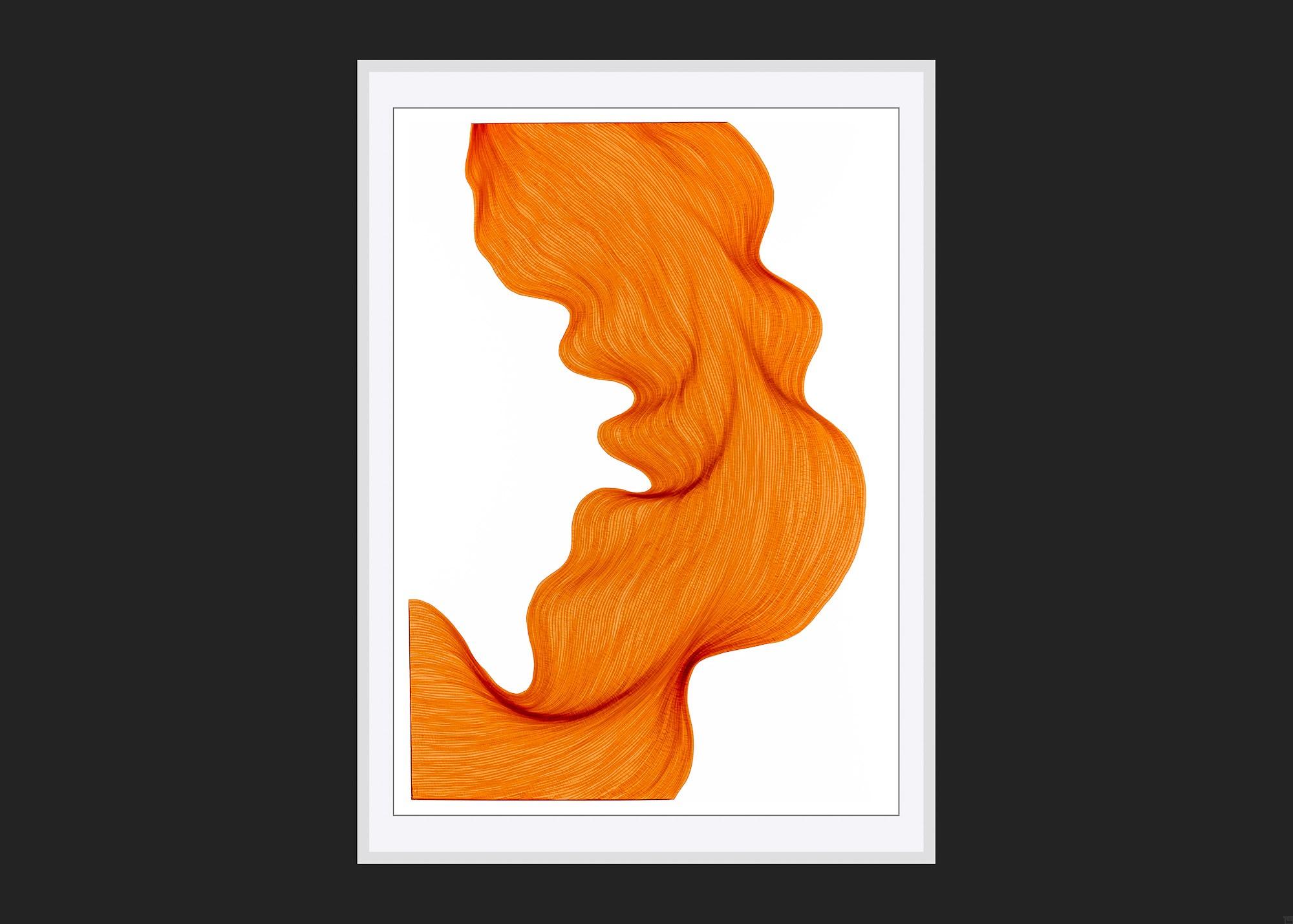 Bubbly Orange   Lali Torma   Zeichnung   Kalligraphie Tinte auf Papier - gerahmt