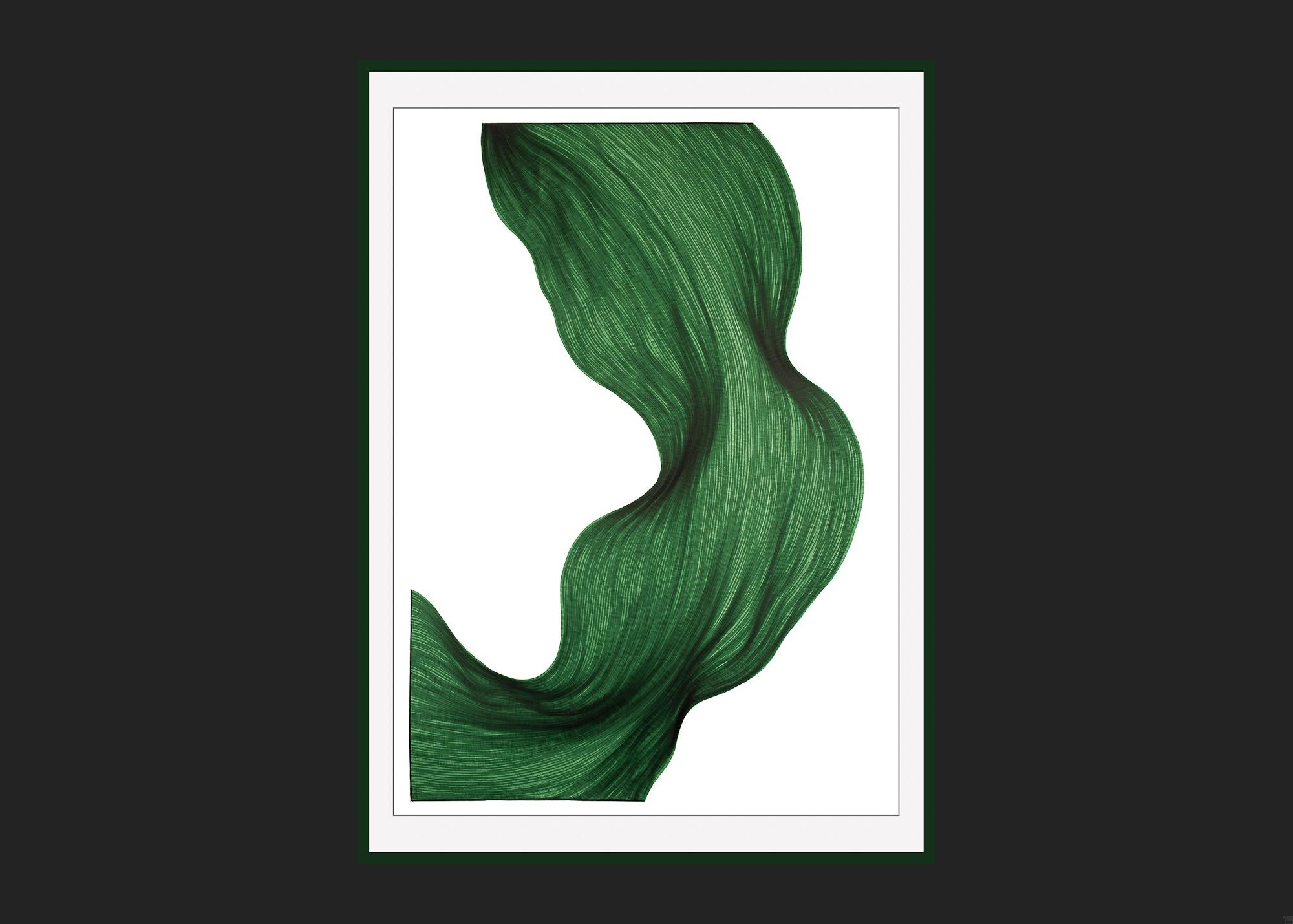 Evergreen Fold | Lali Torma | Zeichnung | Kalligraphie Tinte auf Papier - gerahmt