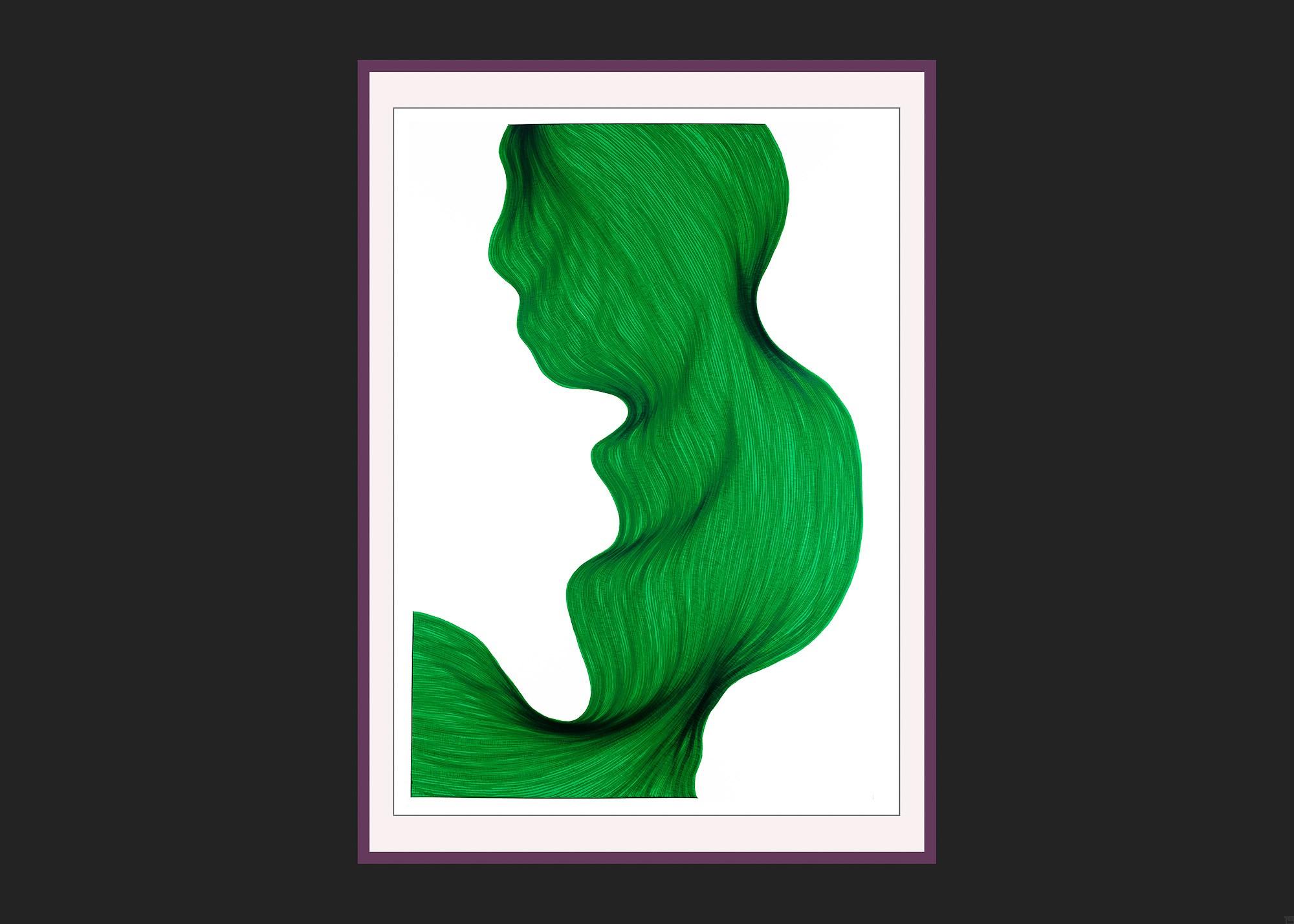 Vert Malin | Lali Torma | Zeichnung | Kalligraphie Tinte auf Papier - gerahmt