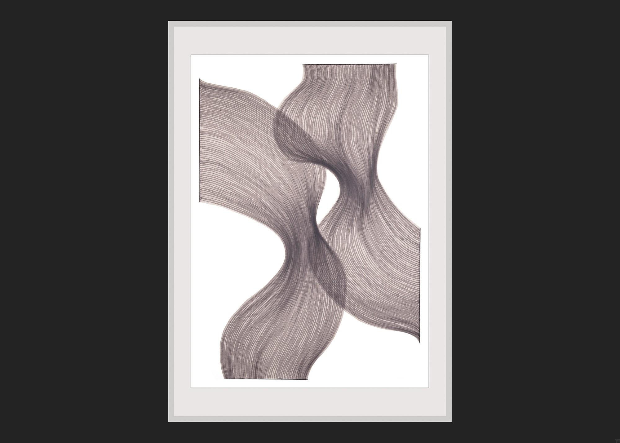 Smoky Lavender Sheer Folds | Lali Torma | Zeichnung | Kalligraphie-Tinte auf Papier - gerahmt
