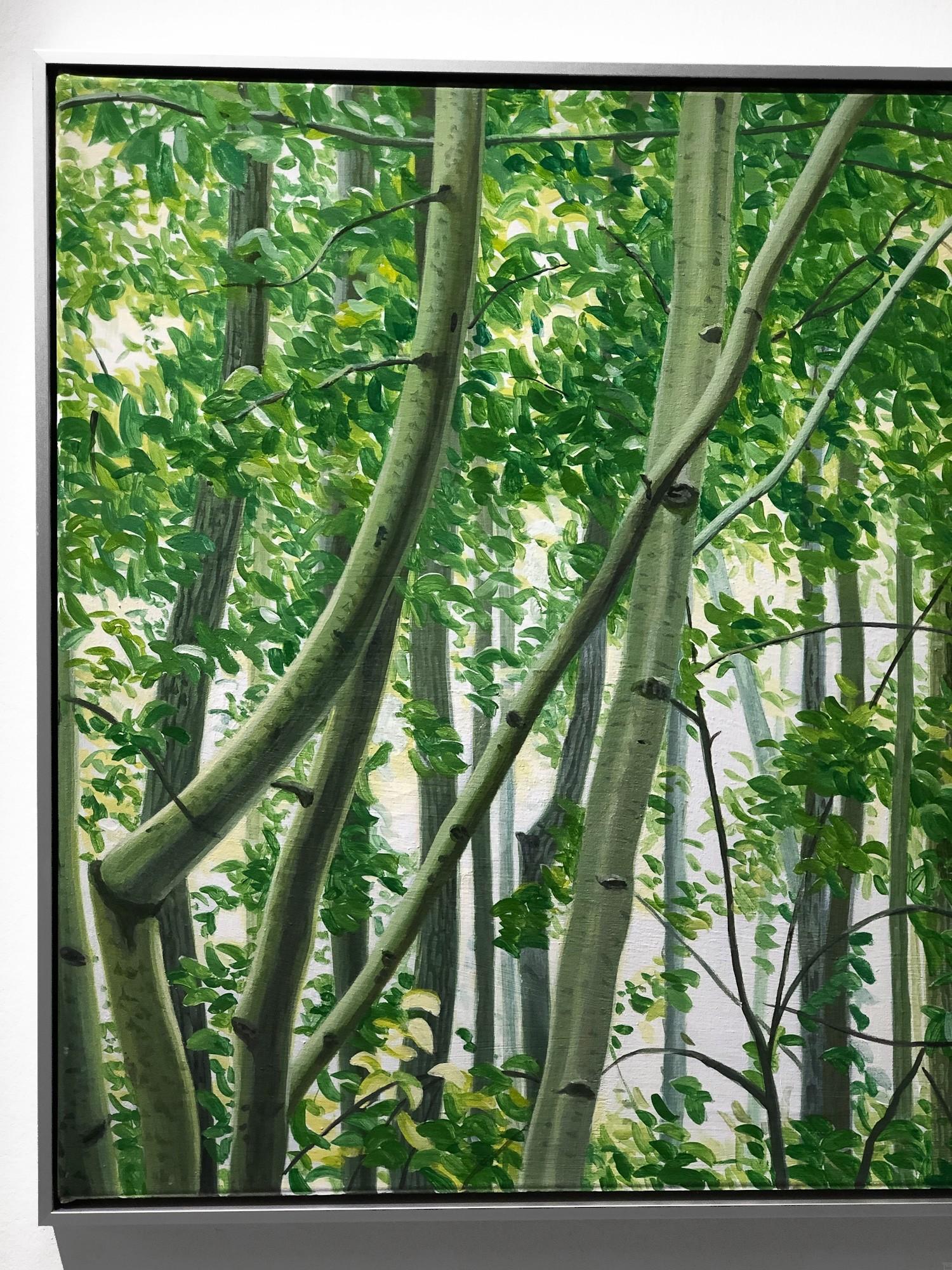 Mythischer Wald, gerahmt, Detail, Malerei von Sven Wiebers | Acryl auf Baumwolle