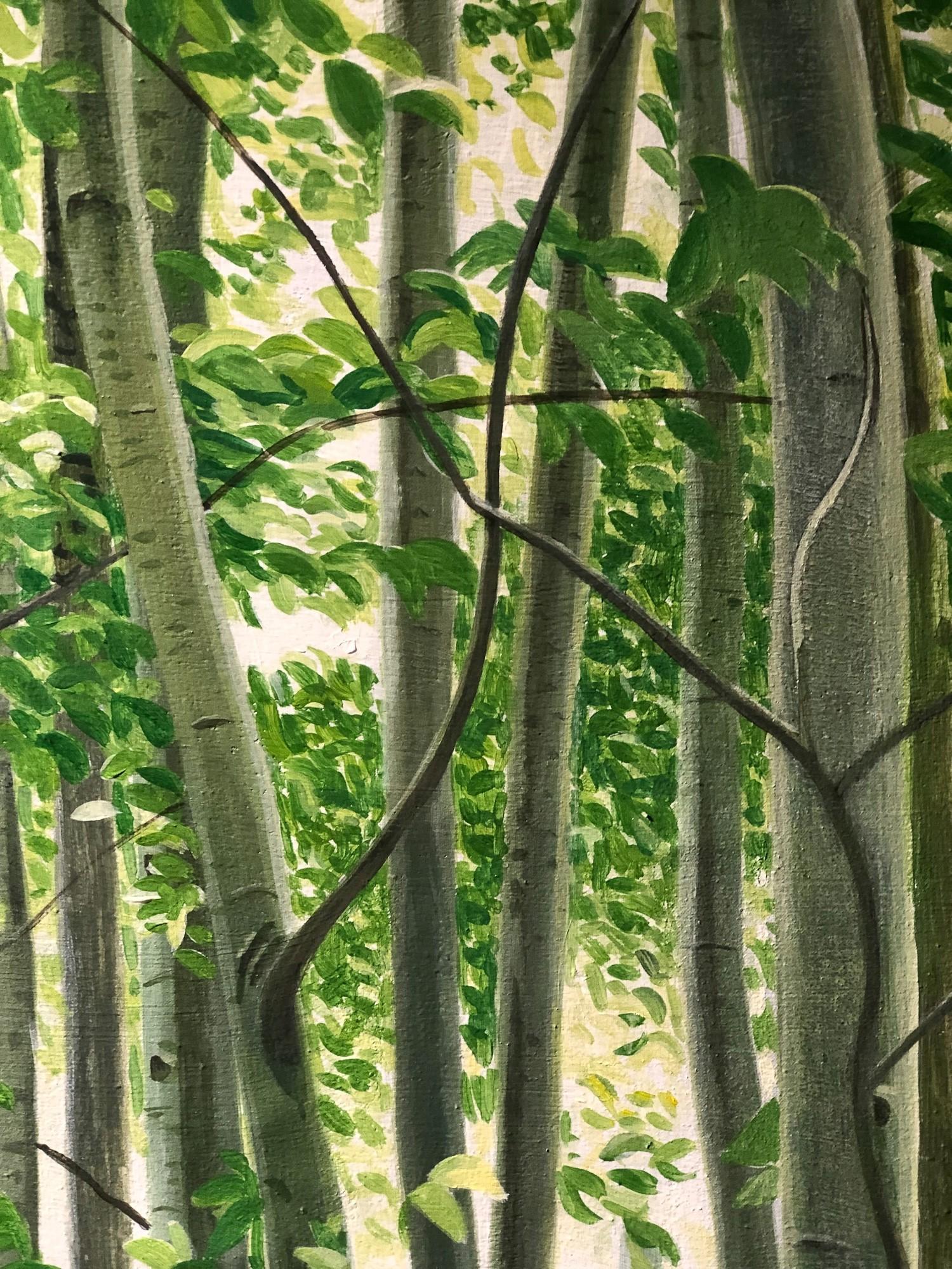 Mythischer Wald | Detail Bäume, Malerei von Sven Wiebers | Acryl auf Baumwolle