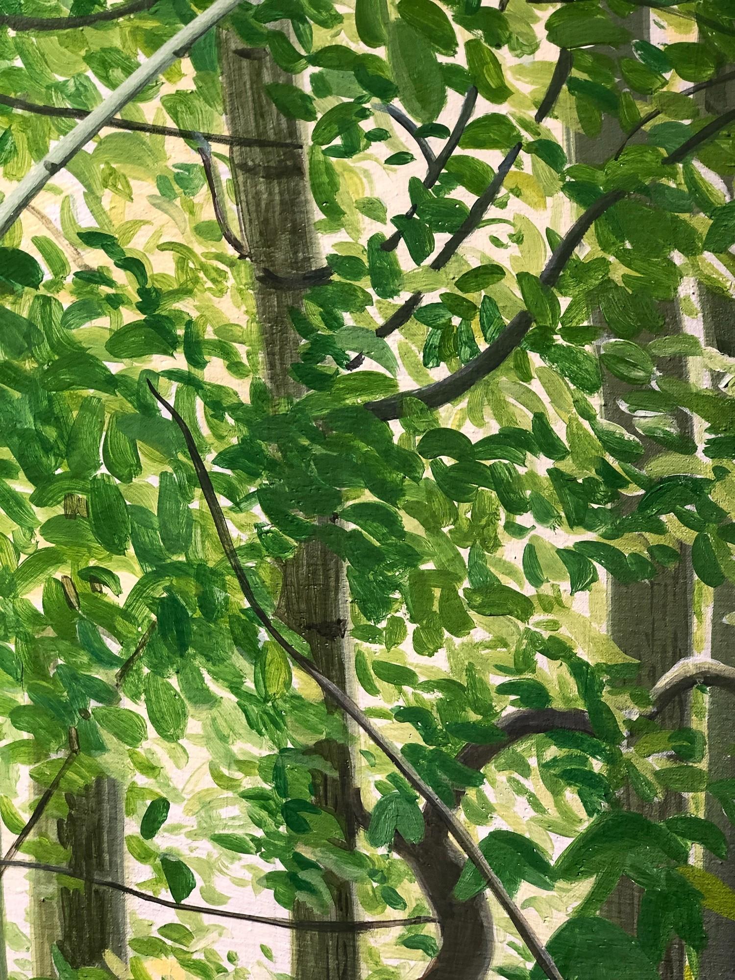 Mythischer Wald | Detail Blätter, Malerei von Sven Wiebers | Acryl auf Baumwolle