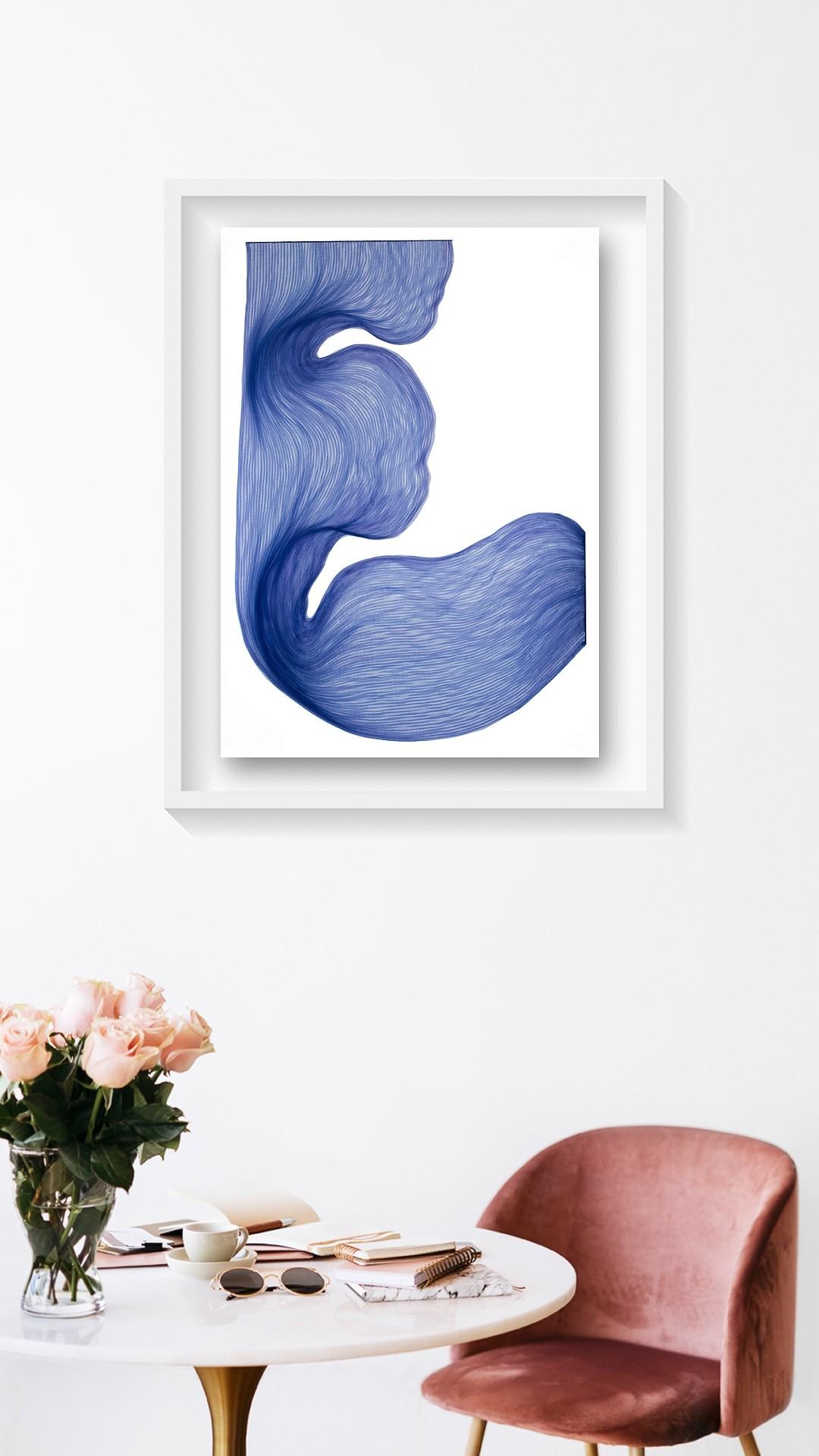Lavender Blue | Lali Torma | Zeichnung | Kalligraphietusche auf Papier, gerahmt - 2