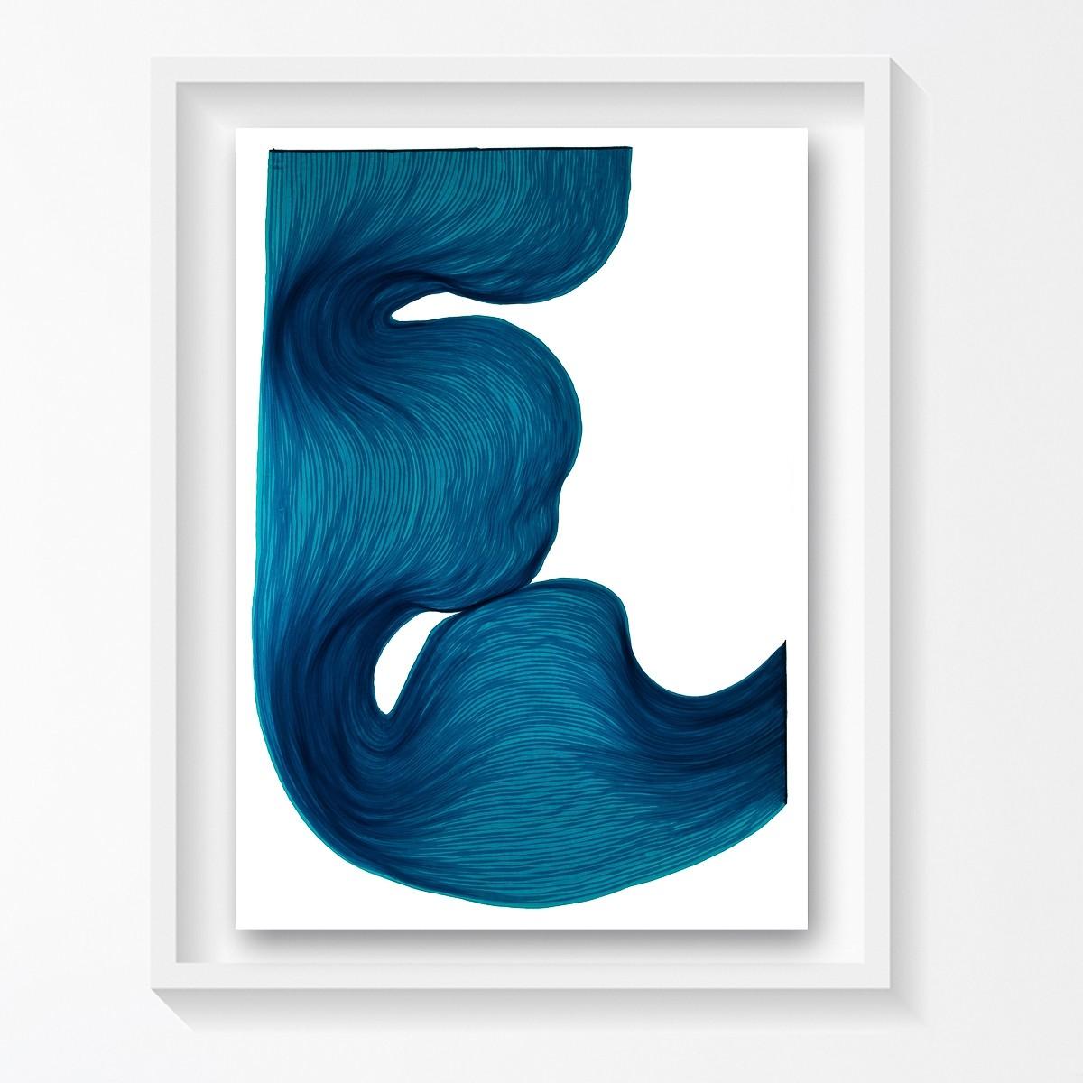 Rich Blue | Lali Torma | Zeichnung | Kalligraphietusche auf Papier, gerahmt