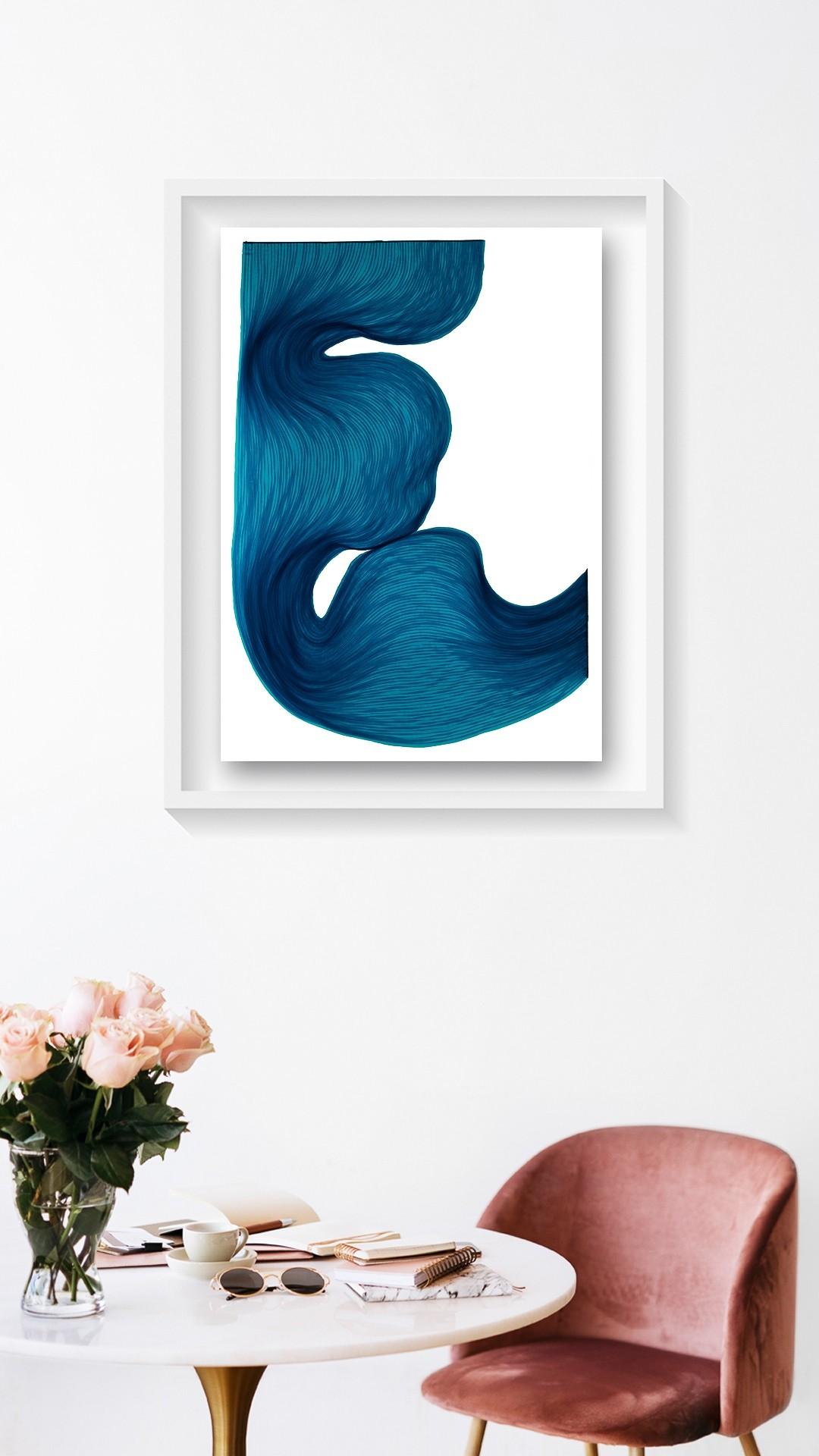 Rich Blue | Lali Torma | Zeichnung | Kalligraphietusche auf Papier, gerahmt - 2
