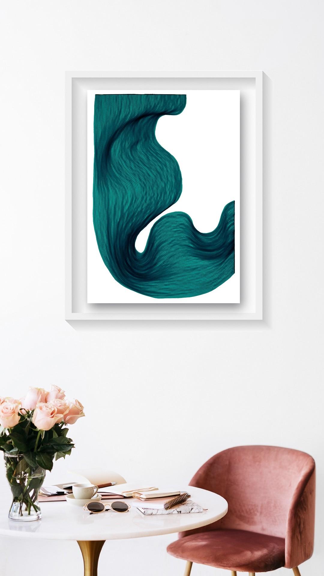Sea Green  | Lali Torma | Zeichnung | Kalligraphietusche auf Papier, gerahmt - 2