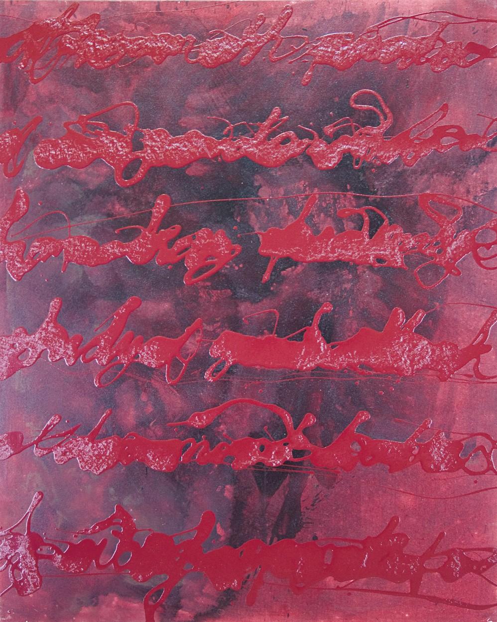 Entscheidender Beweis | Smoking Gun | Künstler Marek Schovanek, Stenografie Serie, Beize und Glasurlack auf Leinwand