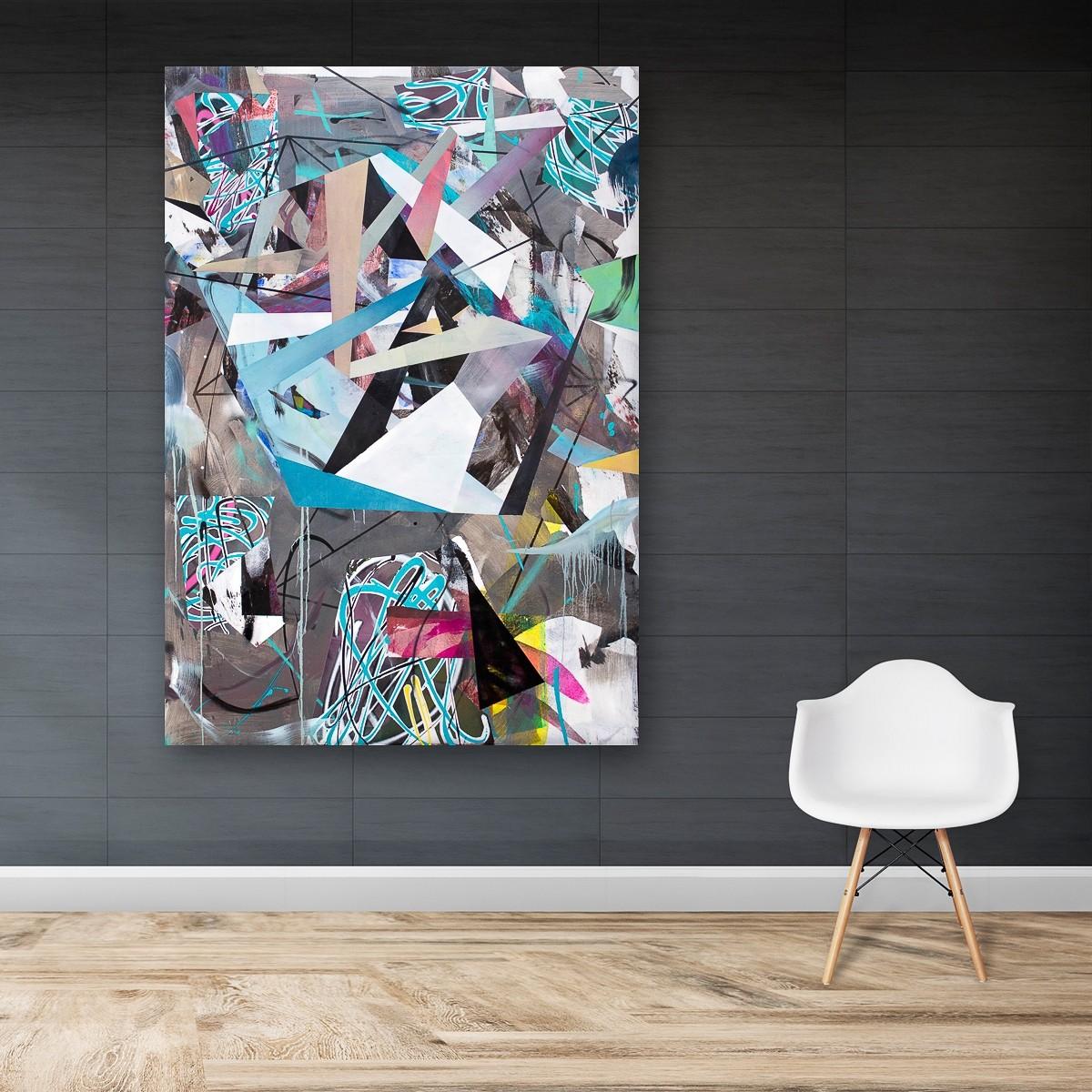 O.T. 06, Malerei von Malwin Faber, Öl, Acryl und Sprühfarbe auf Leinwand - 03
