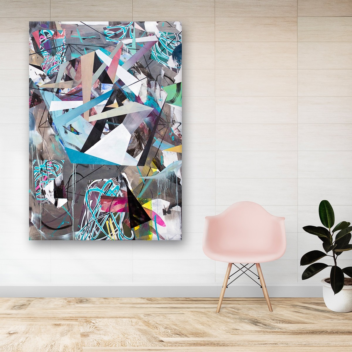 O.T. 06, Malerei von Malwin Faber, Öl, Acryl und Sprühfarbe auf Leinwand - 02