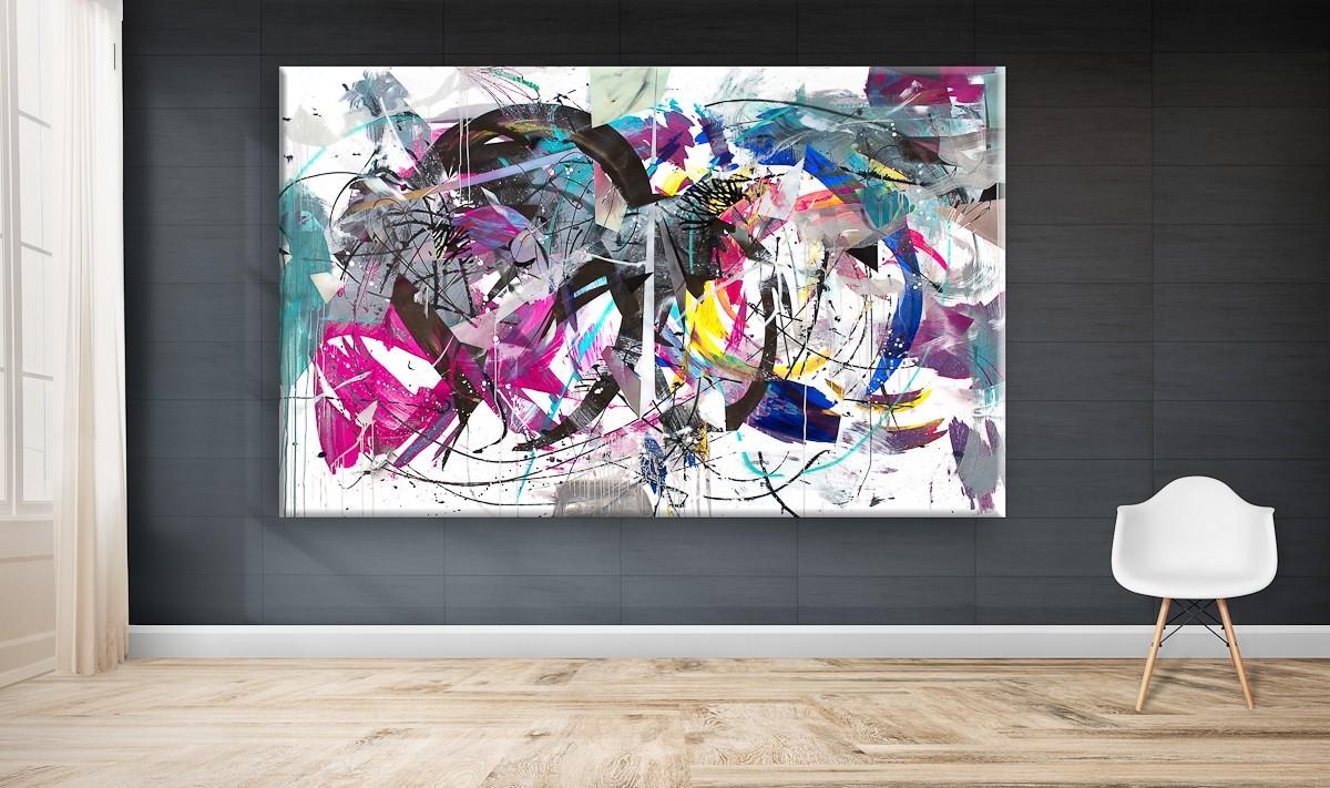 O.T. 24, Malerei von Malwin Faber, Öl, Acryl und Sprühfarbe auf Leinwand - 03