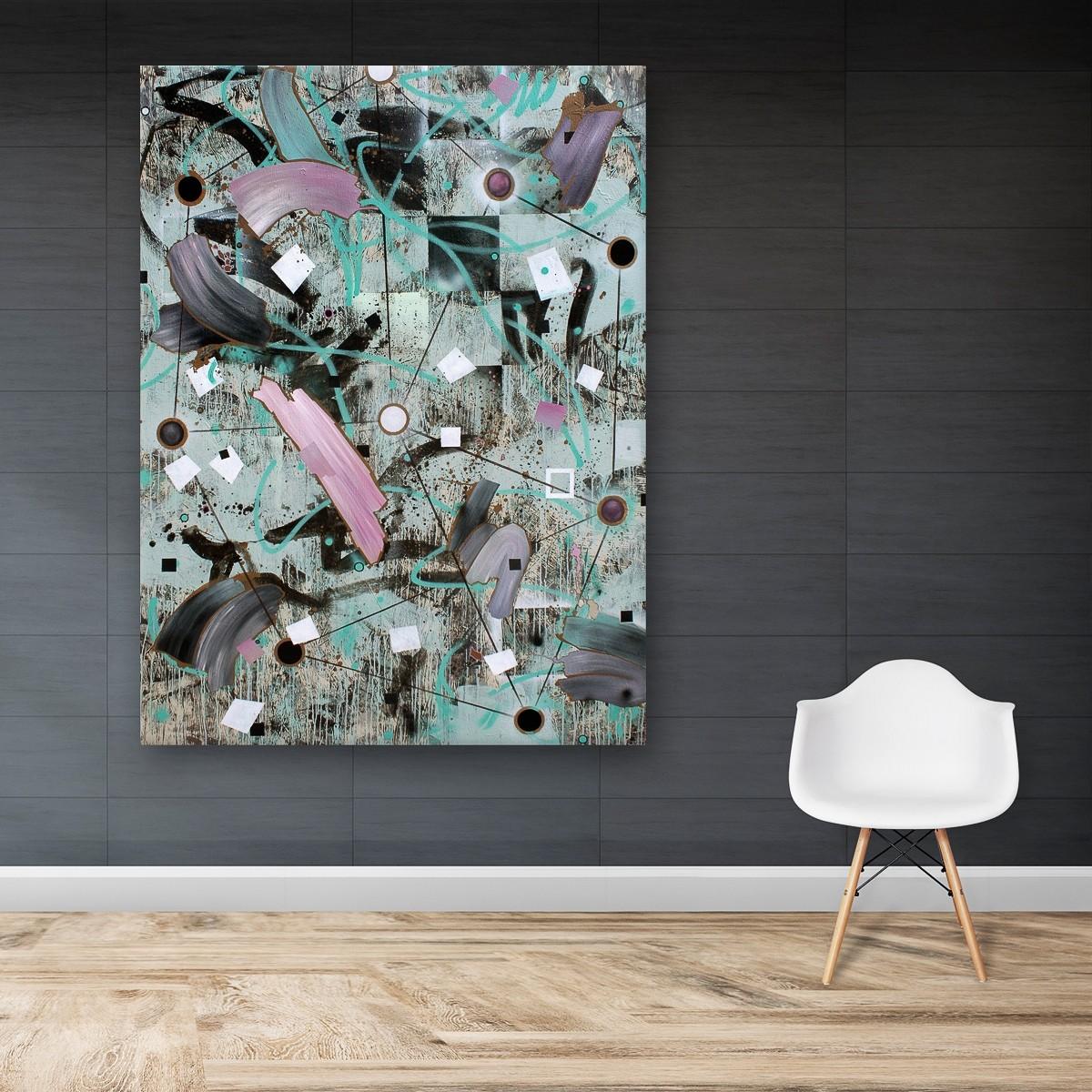 Zwischenräume 12, Malerei von Malwin Faber, Öl, Acryl und Sprühlack auf Leinwand - 3