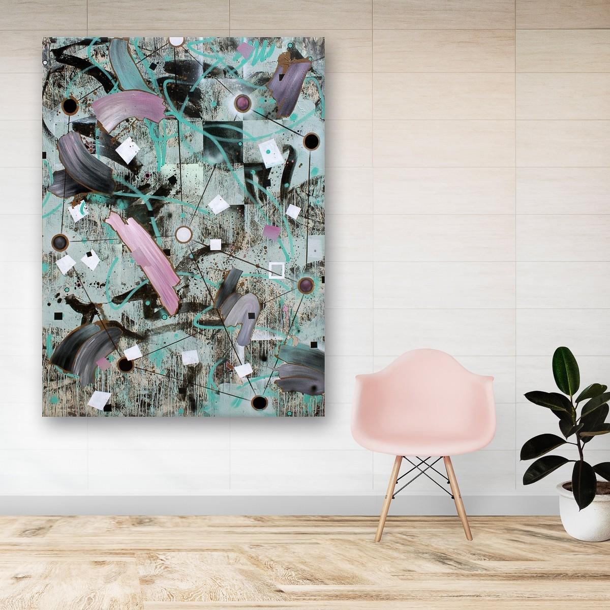 Zwischenräume 12, Malerei von Malwin Faber, Öl, Acryl und Sprühlack auf Leinwand - 2