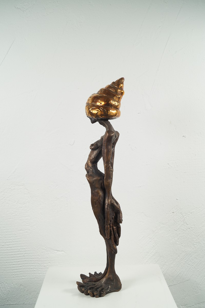Denkspirale - Bronze Plastik, Skulptur von Tim David Trillsam, Edition - seitlich links