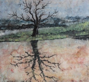 Tree reflections in the water | Painting by Simone Westphal | pulp painting, impressionist