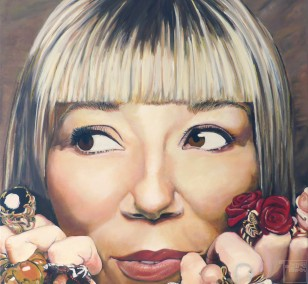 Daisy shows her rings | painting by Eva Nordal | oil on canvas, realistic art