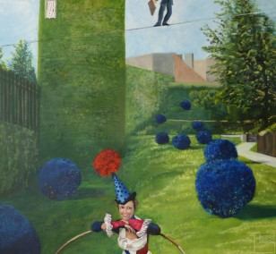 The private garden | painting by Eva Nordal | oil on cotton, realistic art