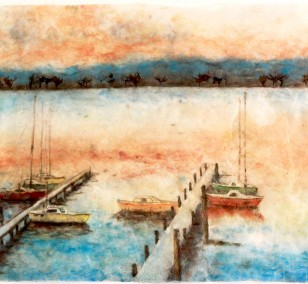 Boats on Wannsee | Painting by Simone Westphal | pulp painting, impressionist