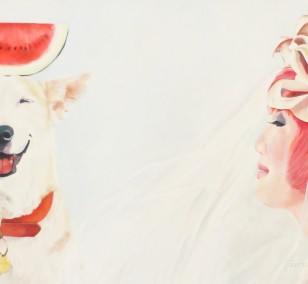 Would you like to swap? | painting by Eva Nordal | oil on cotton, realistic art