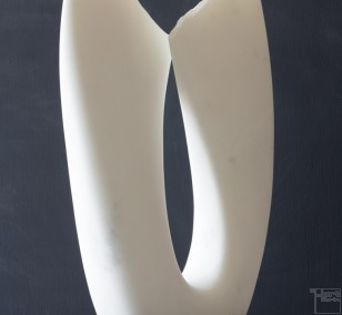 Flower, marble, stone sculpture by Klaus W. Rieck