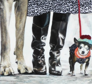 The party animal | painting by Eva Nordal | oil and textile on cotton, realistic art